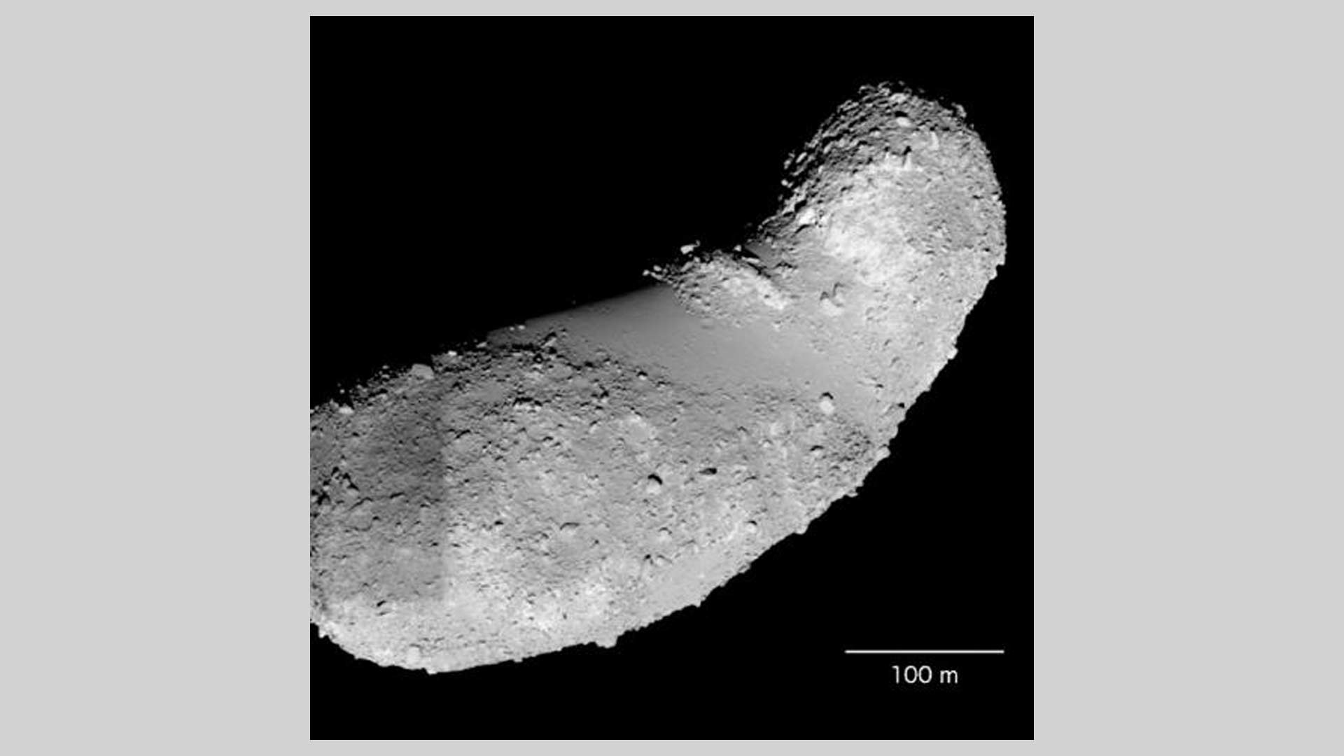 Asteroid Itokawa is the much-battered remnant of a larger parent body. The samples provided by JAXA and studied by Jin and Bose came from the feature called the Muses Sea, which is the smooth area in the middle of Itokawa.