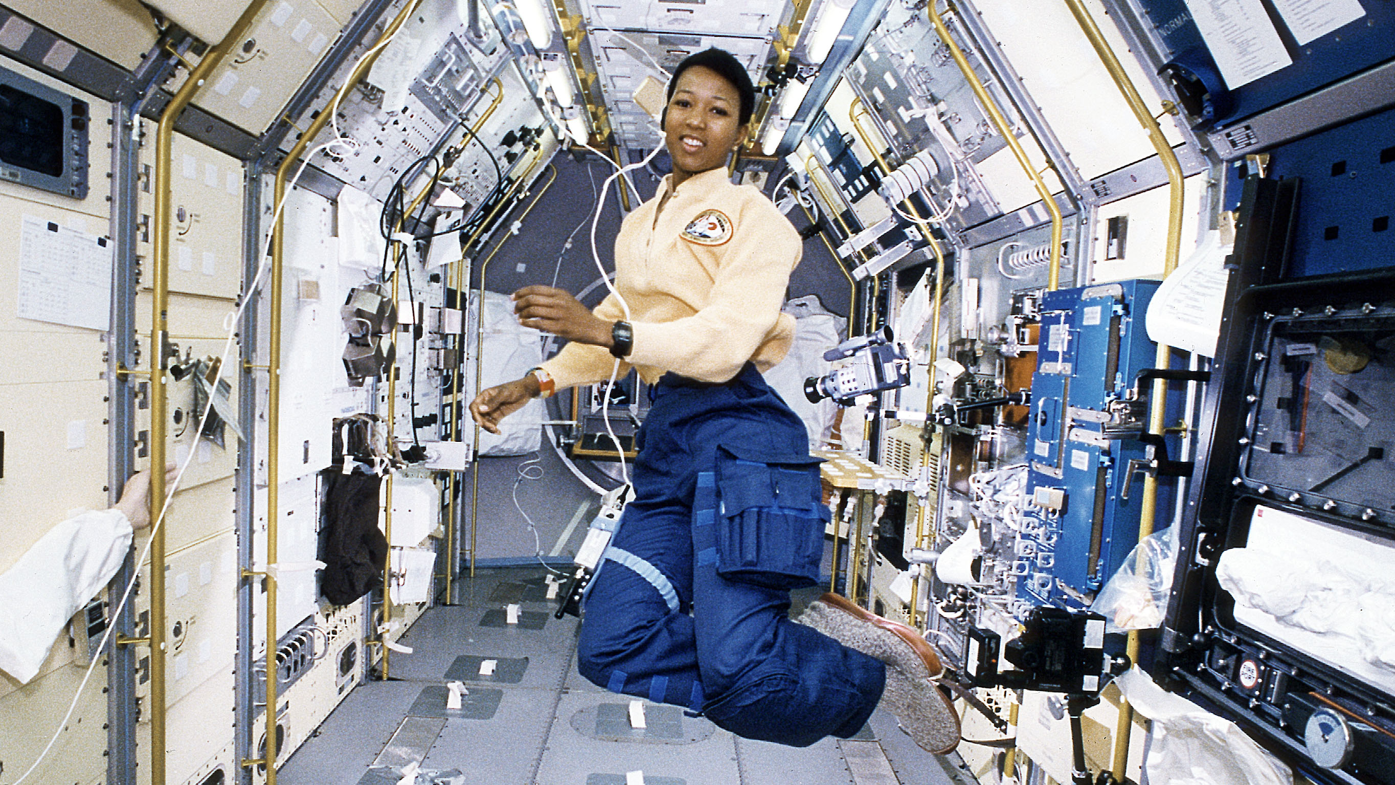 Dr. Mae C. Jemison during her 1992 mission as crew member on the space shuttle Endeavor.