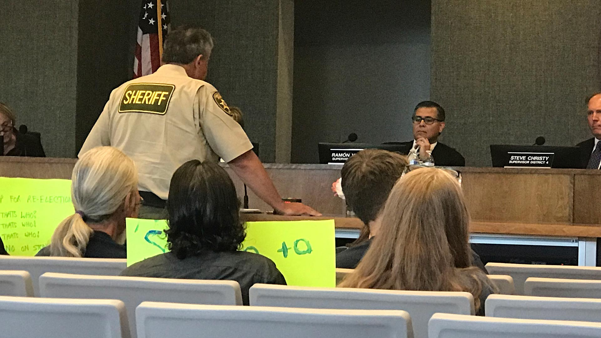 Pima County Sheriff Mark Napier addressing the Pima County Board of Supervisors. (May 7, 2019)