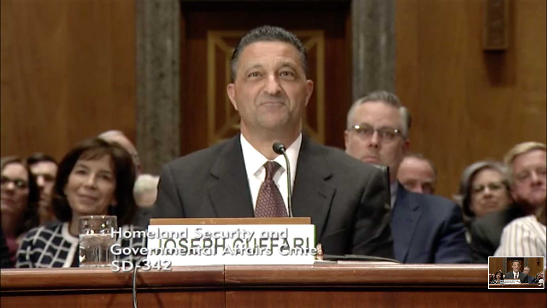 Still image from video of Joseph Cuffari at his nomination hearing for inspector General, DHS, in March 2019.