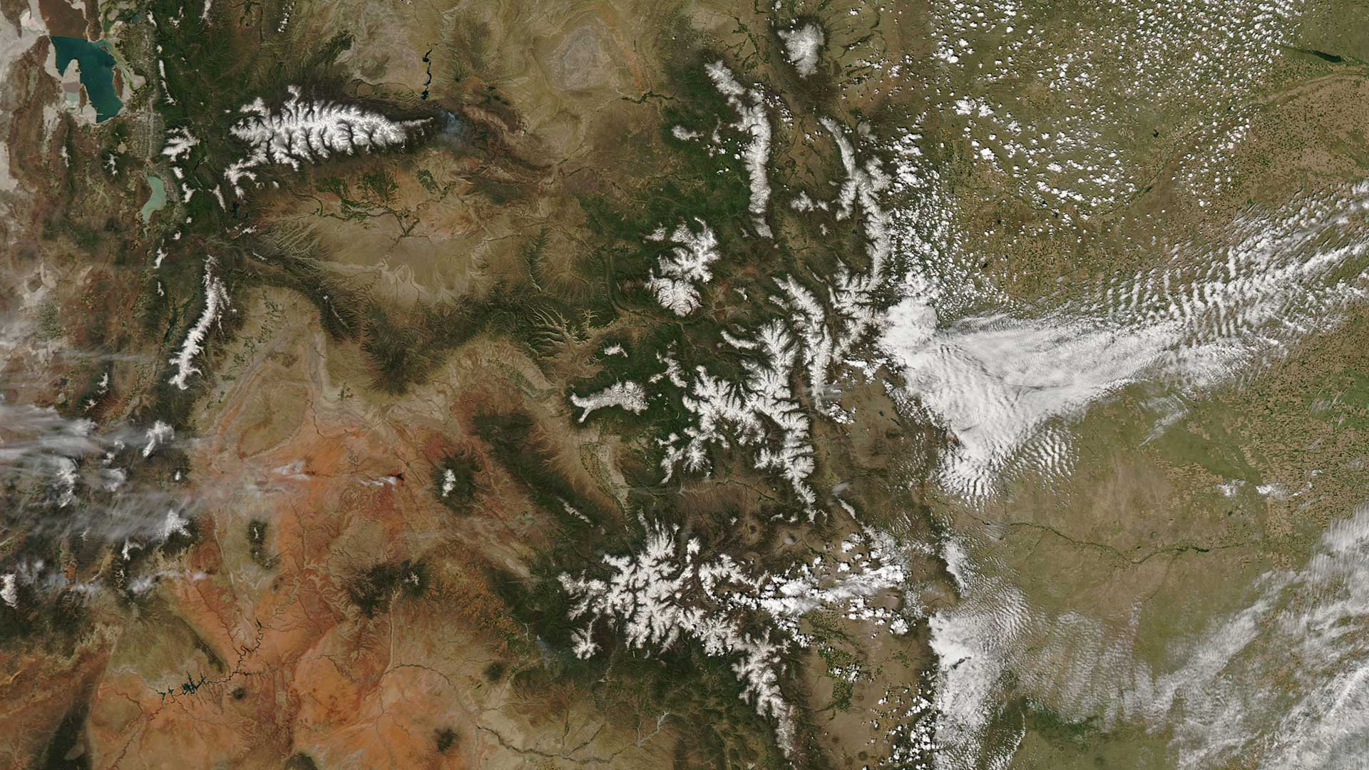 An Aqua-Modis satellite image of snowpack in the Rockies, image including some of Colorado and Utah, taken June 12, 2019.