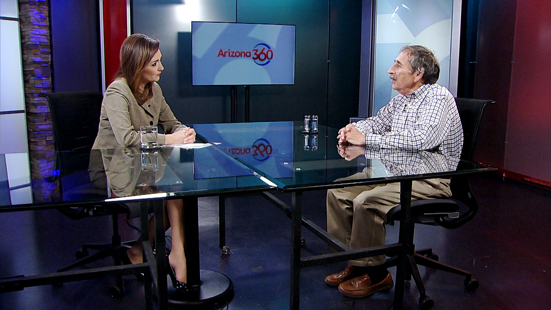 Former Tucson mayor Tom Volgy sits opposite Arizona 360 host Lorraine Rivera at Arizona Public Media on June 14, 2019.