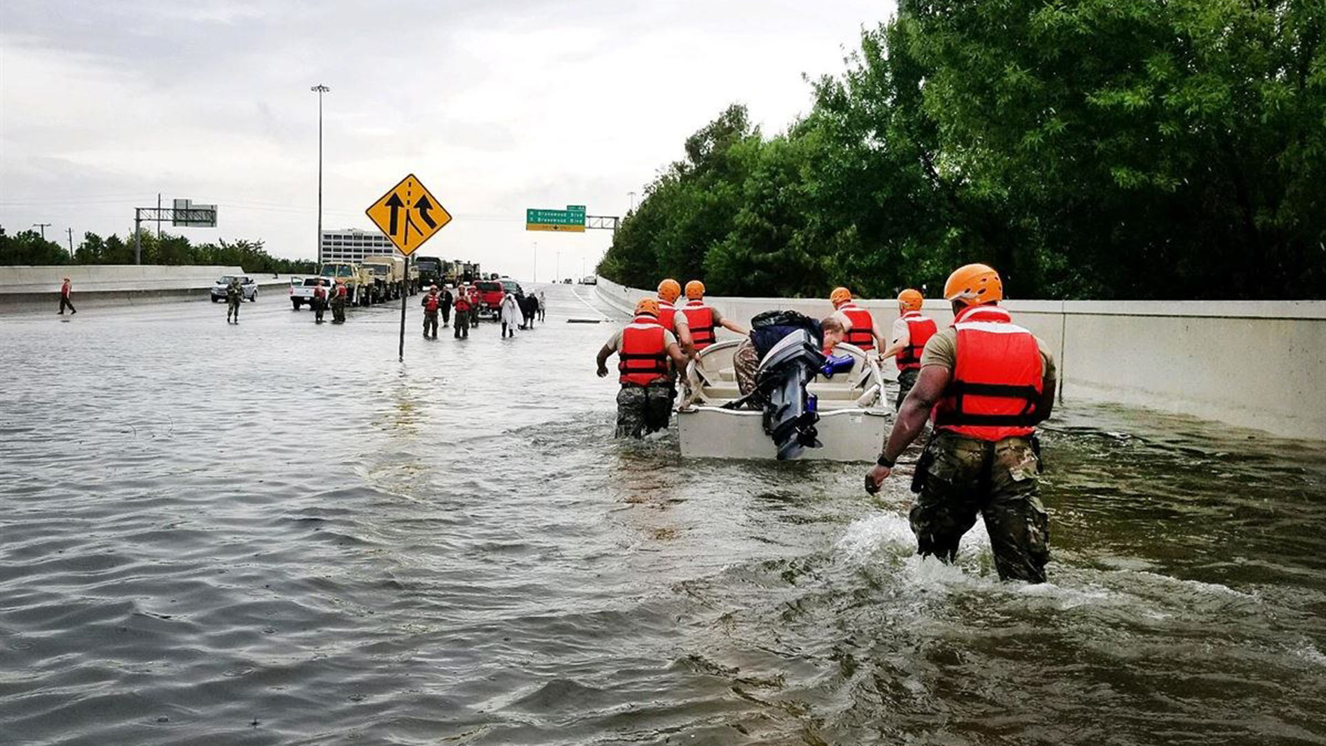 Rescue crews during 2017 flooding from Hurricane Harvey in Texas