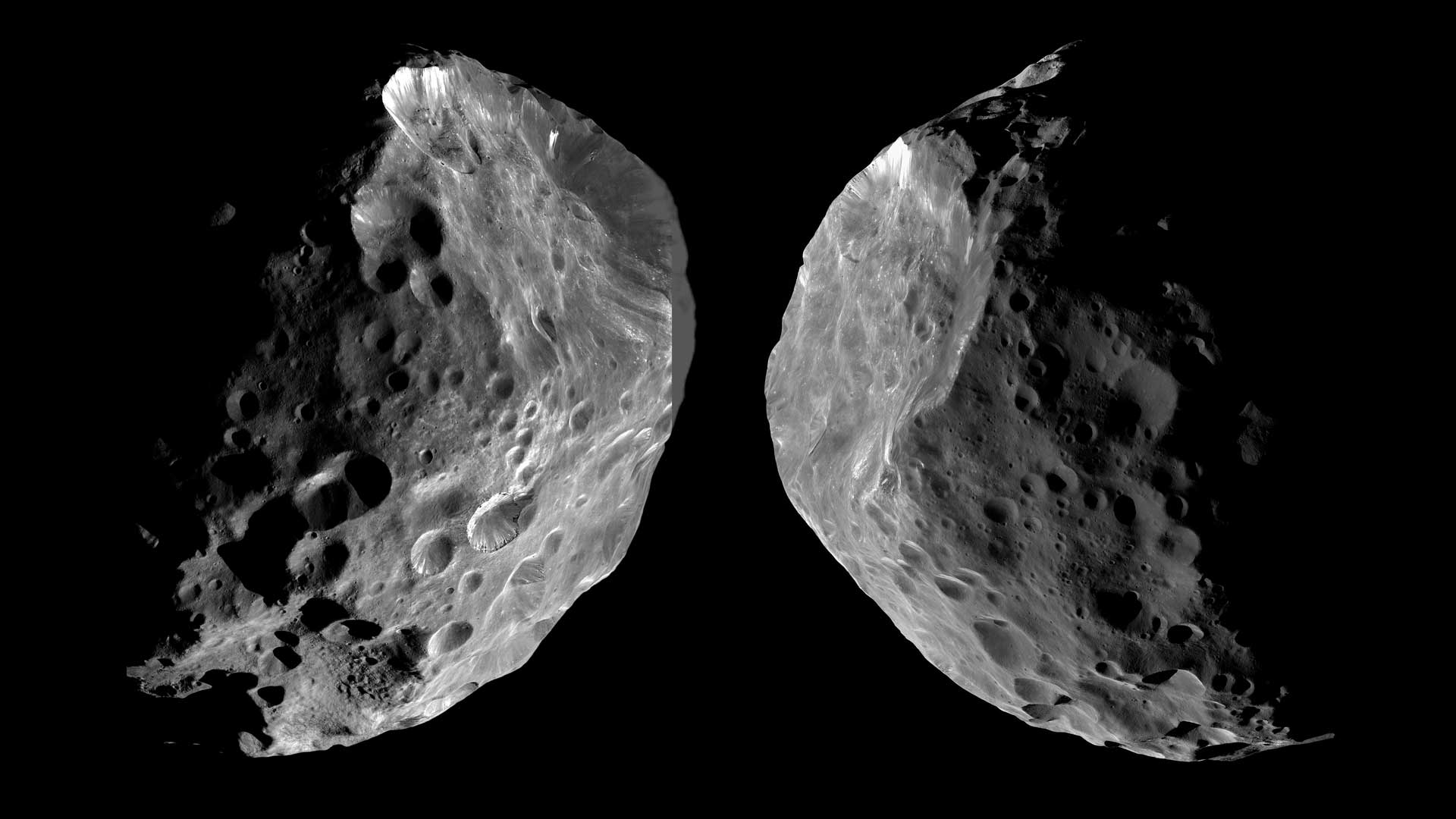 Cassini's view on approach to Phoebe (left) and departure (right). The dark, roughly spherical object is roughly 16 times smaller than Earth's moon.