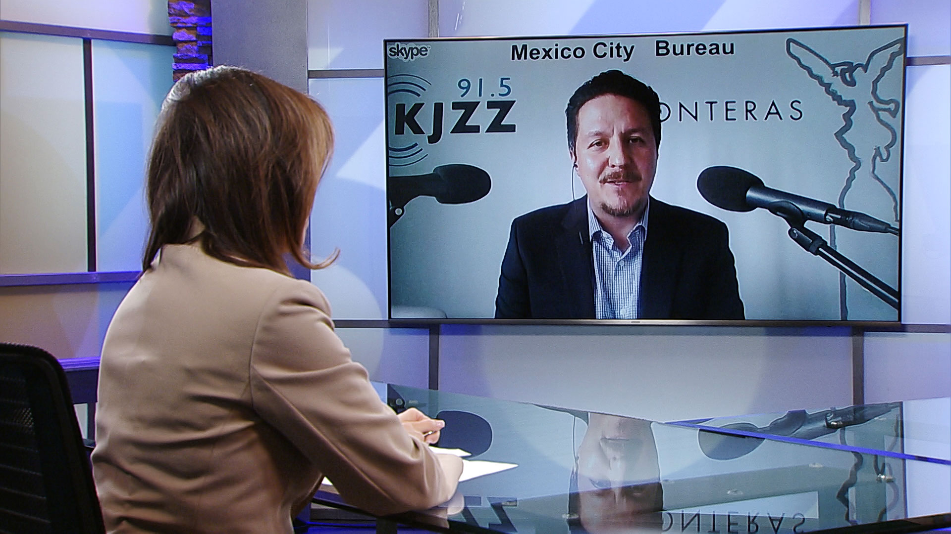 KJZZ Mexico City Bureau Chief Rodrigo Cervantes participates in a Skype interview with Arizona 360 host Lorraine Rivera.