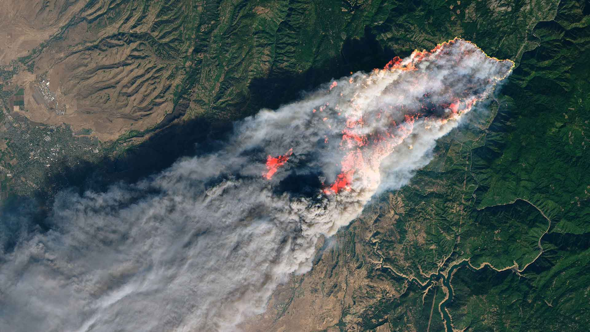 Satellite image of California's Camp Fire, Nov. 8, 2018.