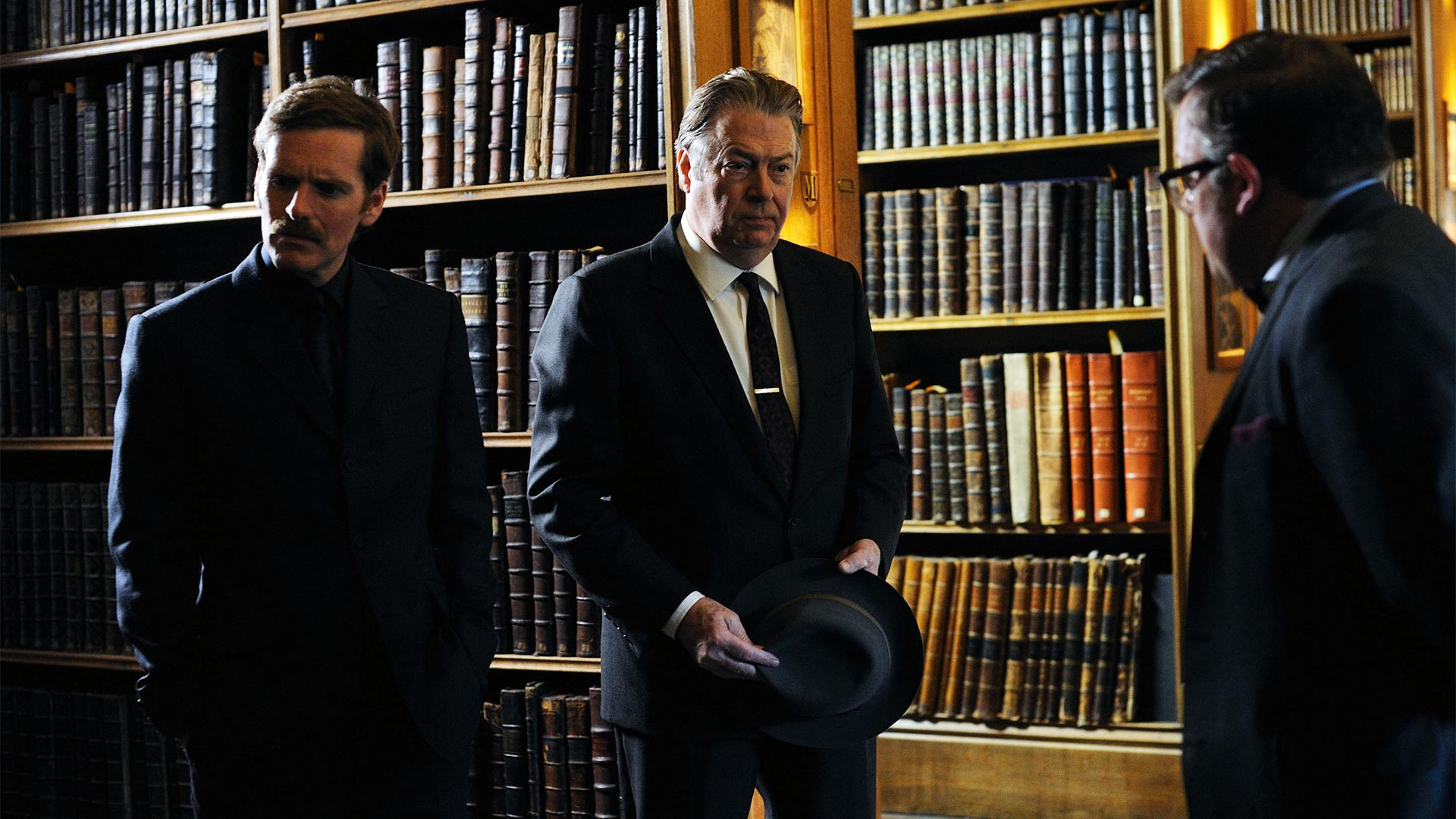 Pictured from left to right: SHAUN EVANS as Endeavour, ROGER ALLAM as DI Fred Thursday and JAMES BRADSHAW as DR Max DeBryn