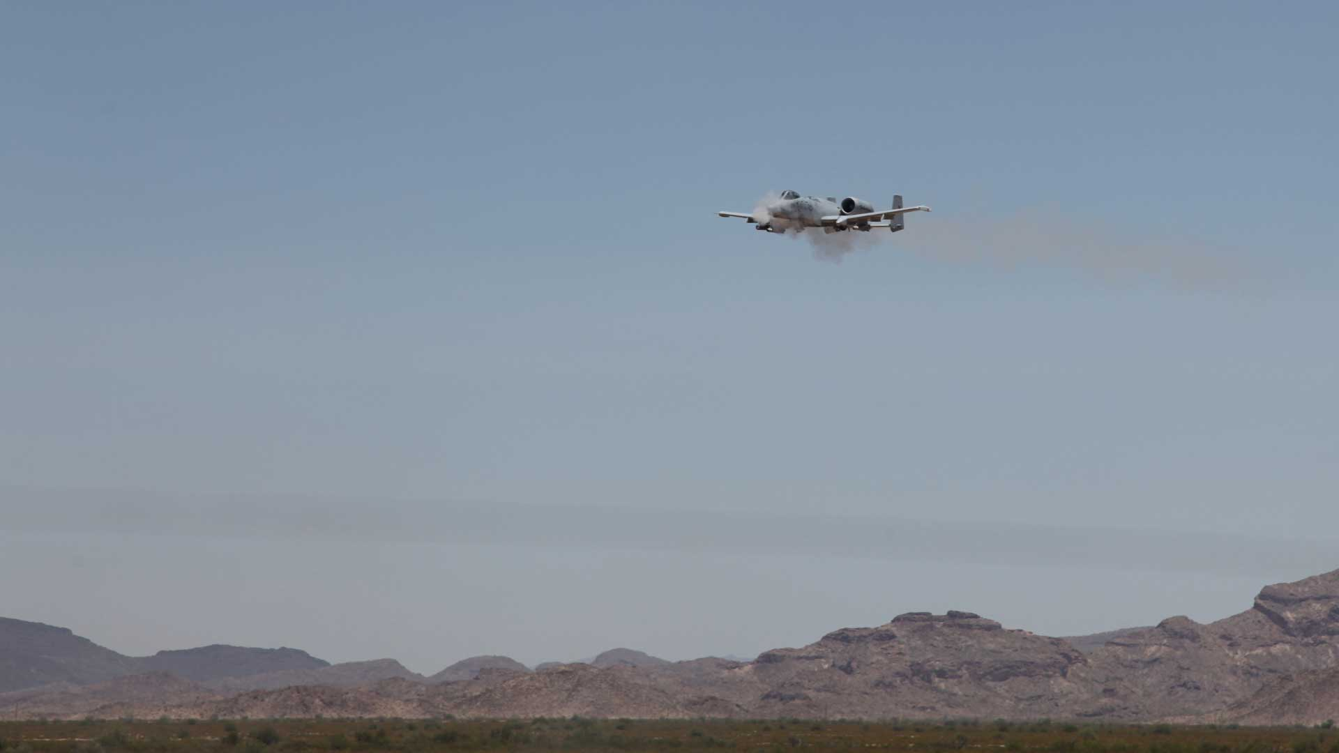 An A-10 firing over the Barry Goldwater Range in Gila Bend, Arizona, during Hawgsmoke 2016.