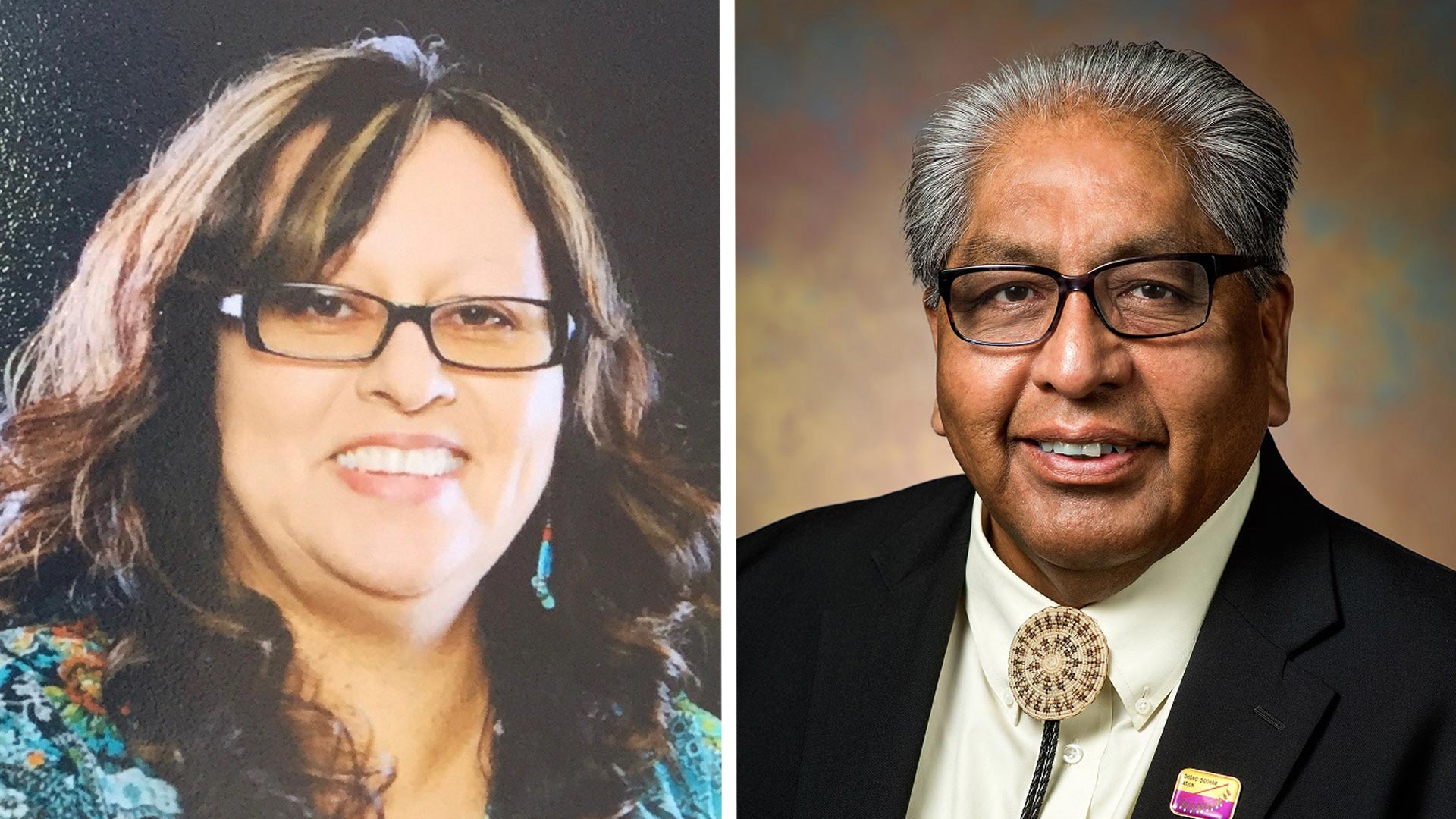 Ned Norris Jr. (right) and Wavalene Saunders won the election for Chairman and Vice Chairwoman on the Tohono O'odham Nation for 2019 to 2023.