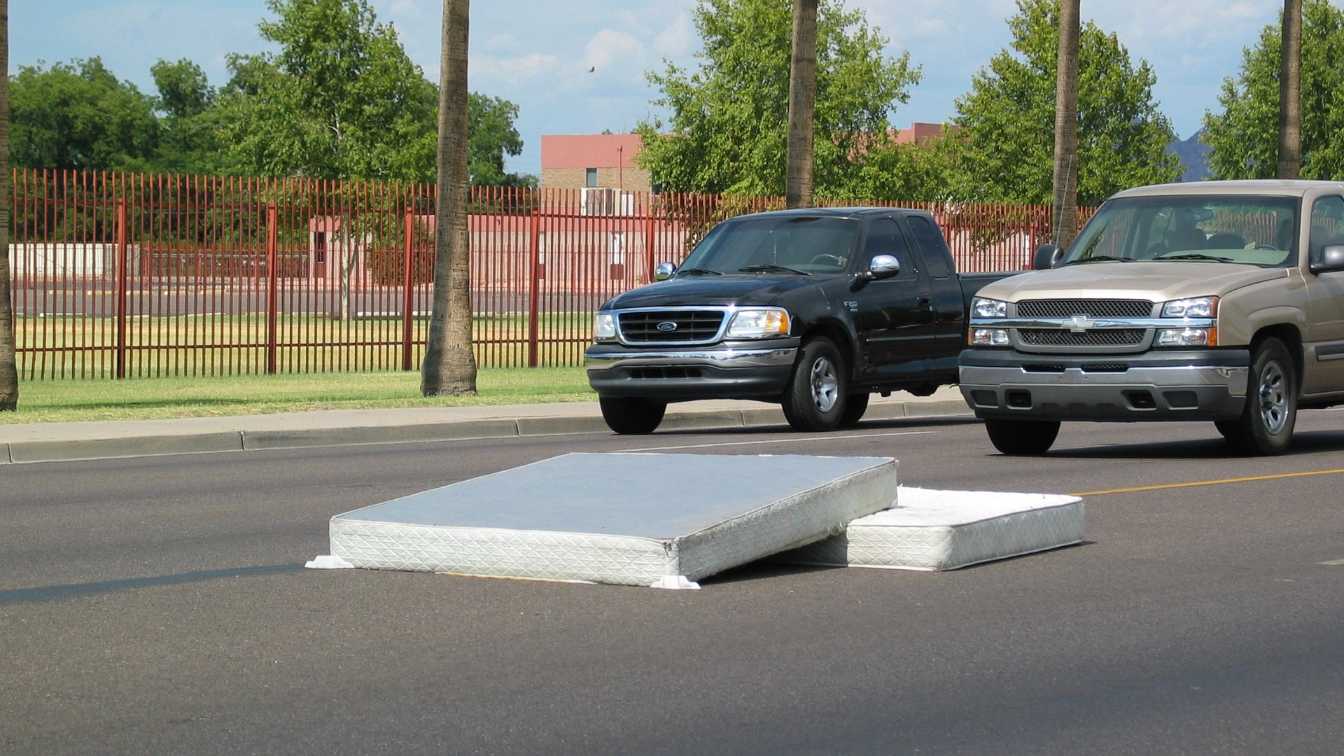 A mattress and box spring on Camelback Road in Phoenix.