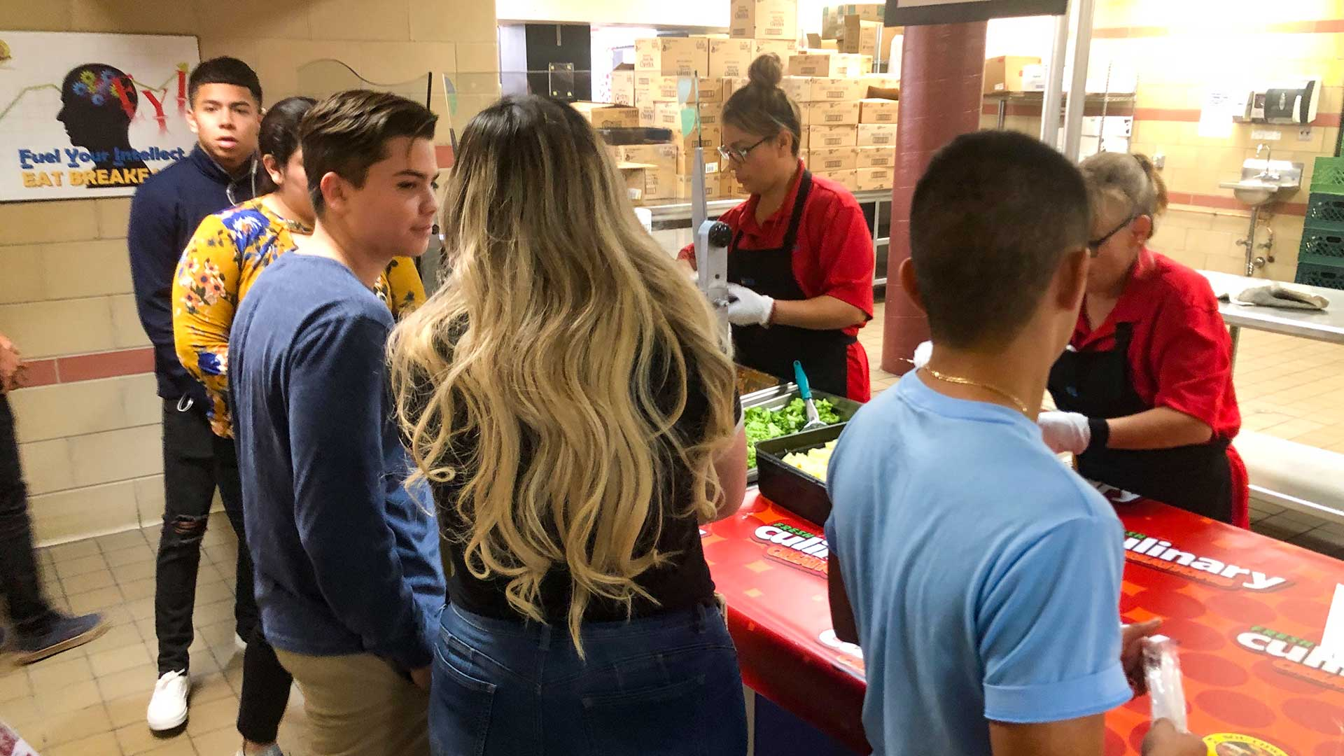 Students at Desert View High School getting a summer meal offered by the Sunnyside School District, June 2019.