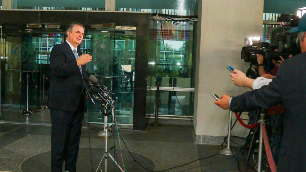Mexican Foreign Relations Secretary Marcelo Ebrard spoke to reporters late Thursday afternoon after meetings with officials in the U.S. State Department in Washington.