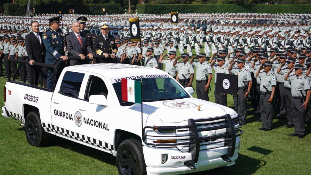Mexican President Andrés Manuel López Obrador at the inauguration ceremony for the National Guard.