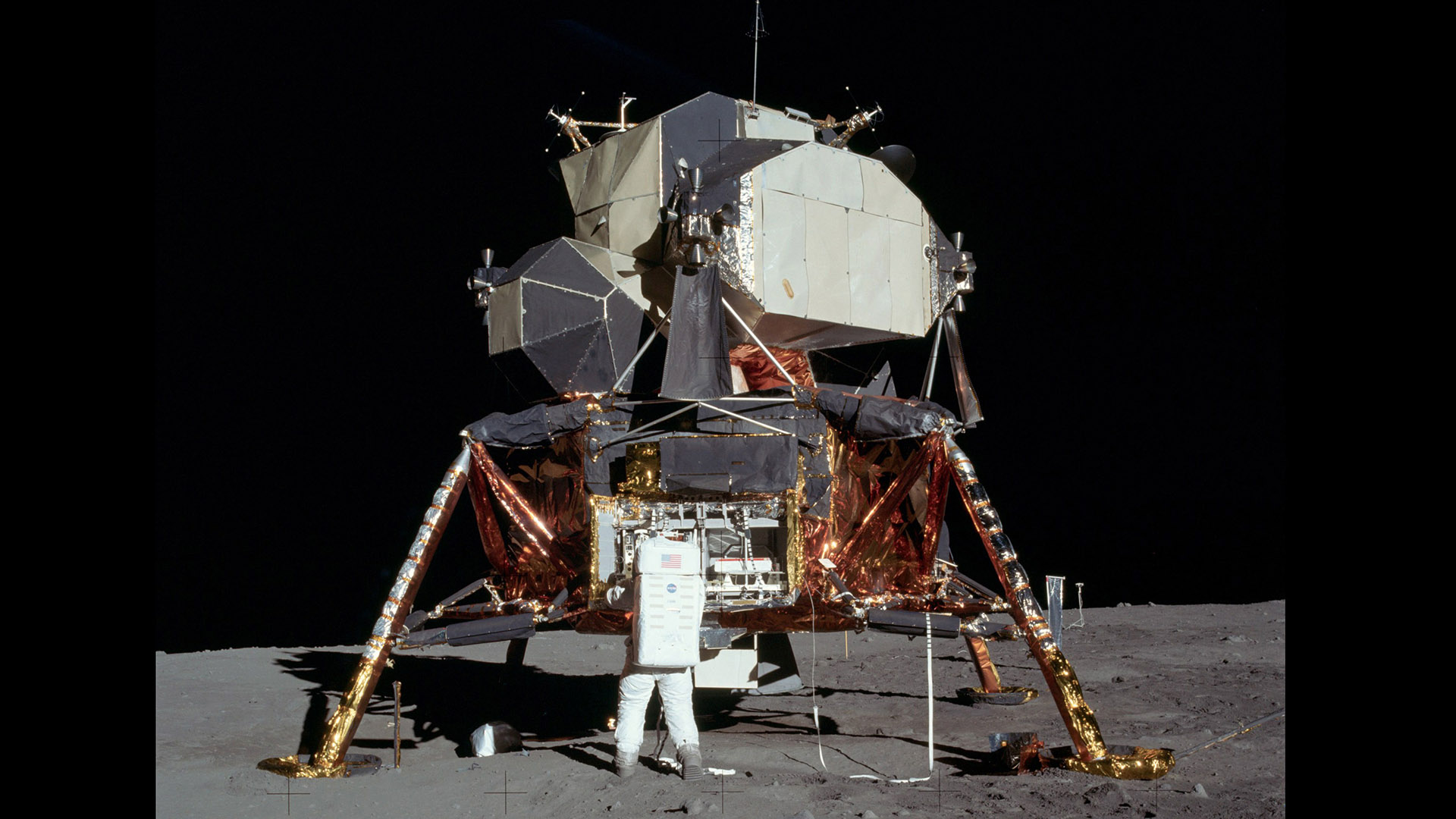 "Astronaut Edwin ""Buzz"" Aldrin works on the moon's surface during the Apollo 11 moonwalk, July 20, 1969."