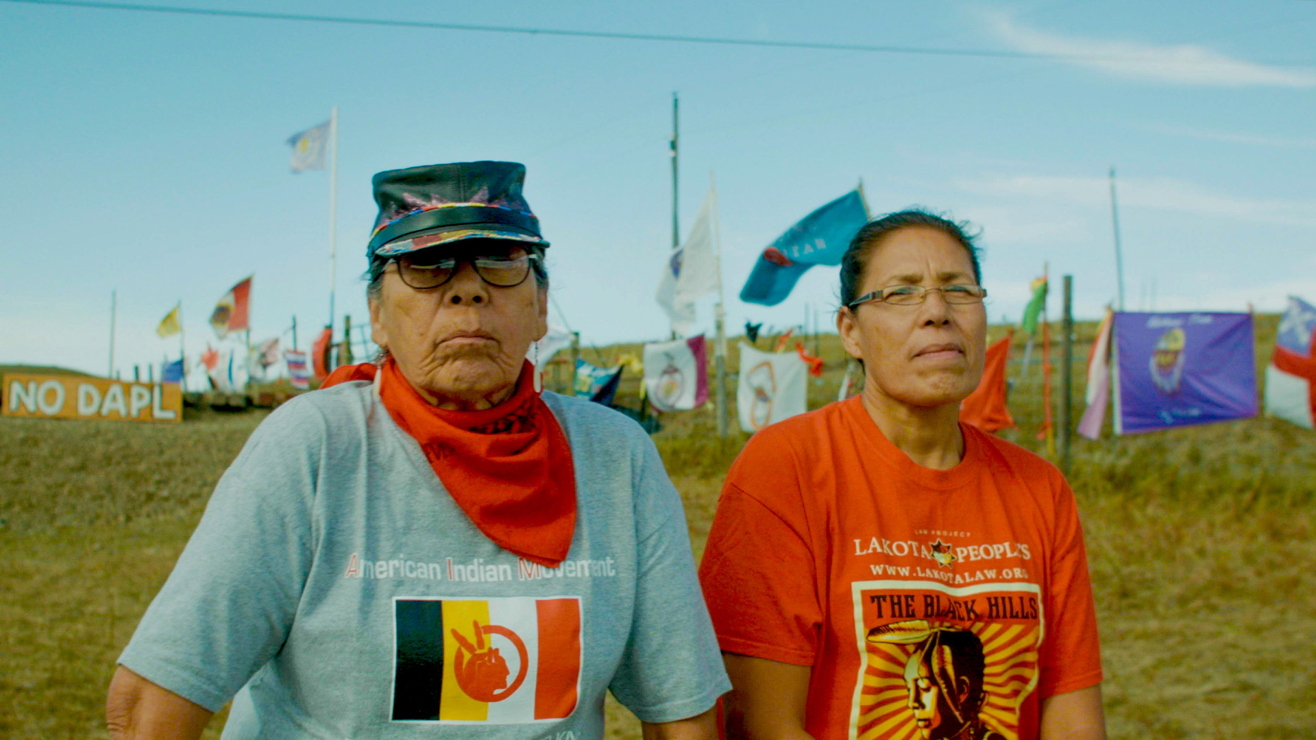 "Madonna Thunderhawk and her daughter, Marcy Gilbert, at Standing Rock 2017. The pair were featured in ""Warrior Women,"" a film about the women of the American Indian Movement in the '60s and '70s."