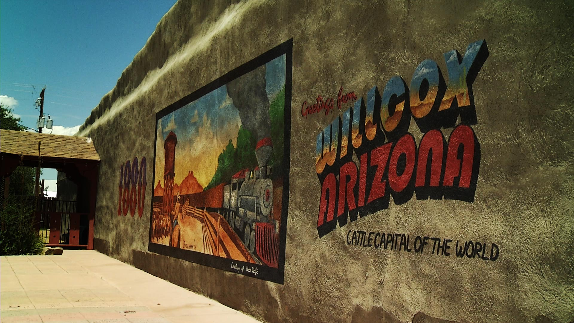 A mural welcoming visitors to Willcox is located across the street from the city's Historic Railroad Avenue Park.