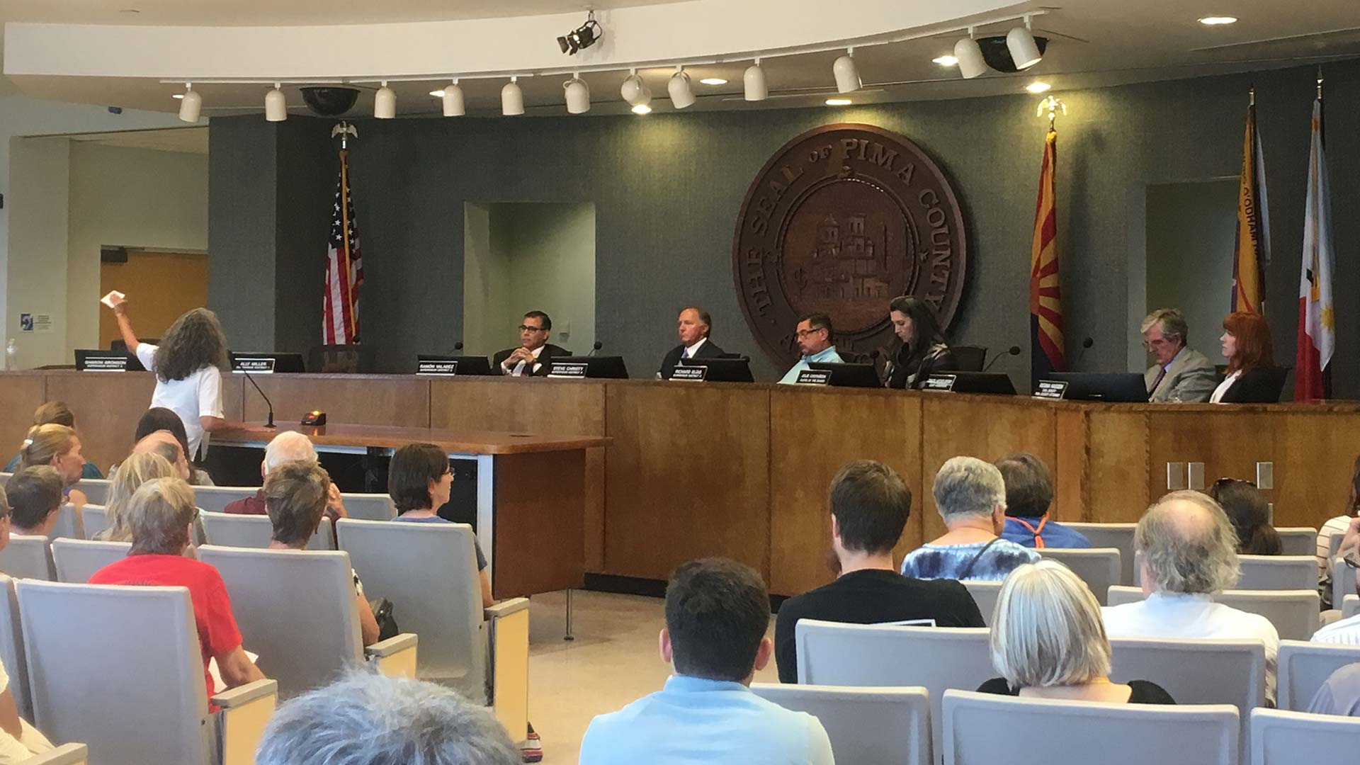 The Board of Supervisors hears public comment on the proposed plan to allow Catholic Community Services to use a portion of the county's juvenile detention center as a shelter for asylum seekers, July 22, 2019.