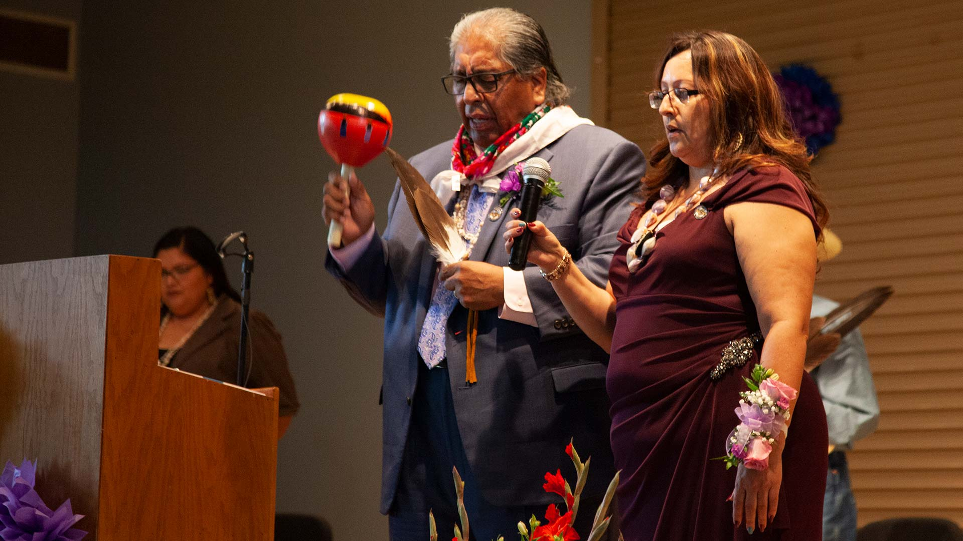 Chairman Ned Norris Jr. and Vice Chairwoman Wavalene Saunders close out their inauguration with a Tohono O'odham song, Friday, July 19, 2019.