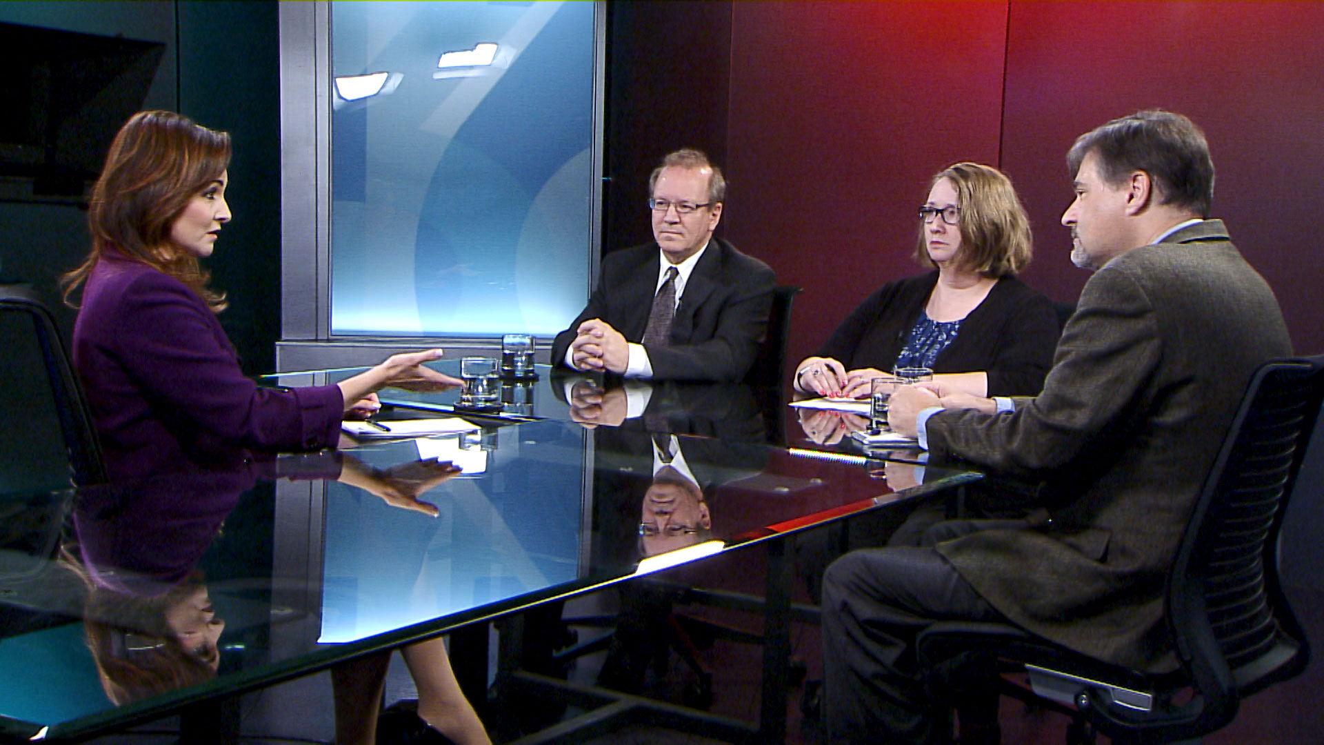 Dan Shearer (left), Sarah Garrecht Gassen and Dylan Smith participate in a roundtable discussion with Arizona 360 host Lorraine Rivera on July 25, 2019.