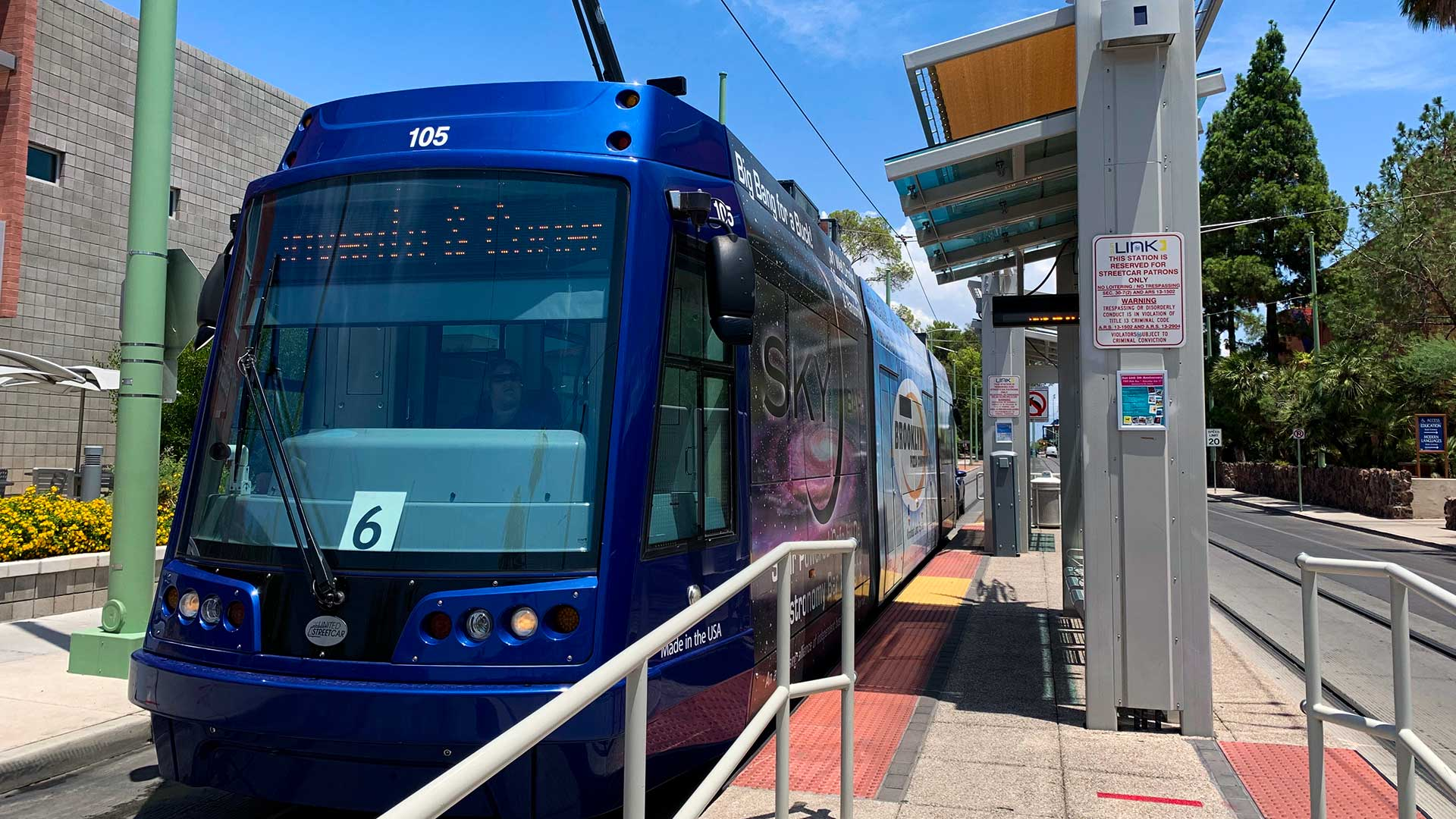 The streetcar at a University of Arizona stop.