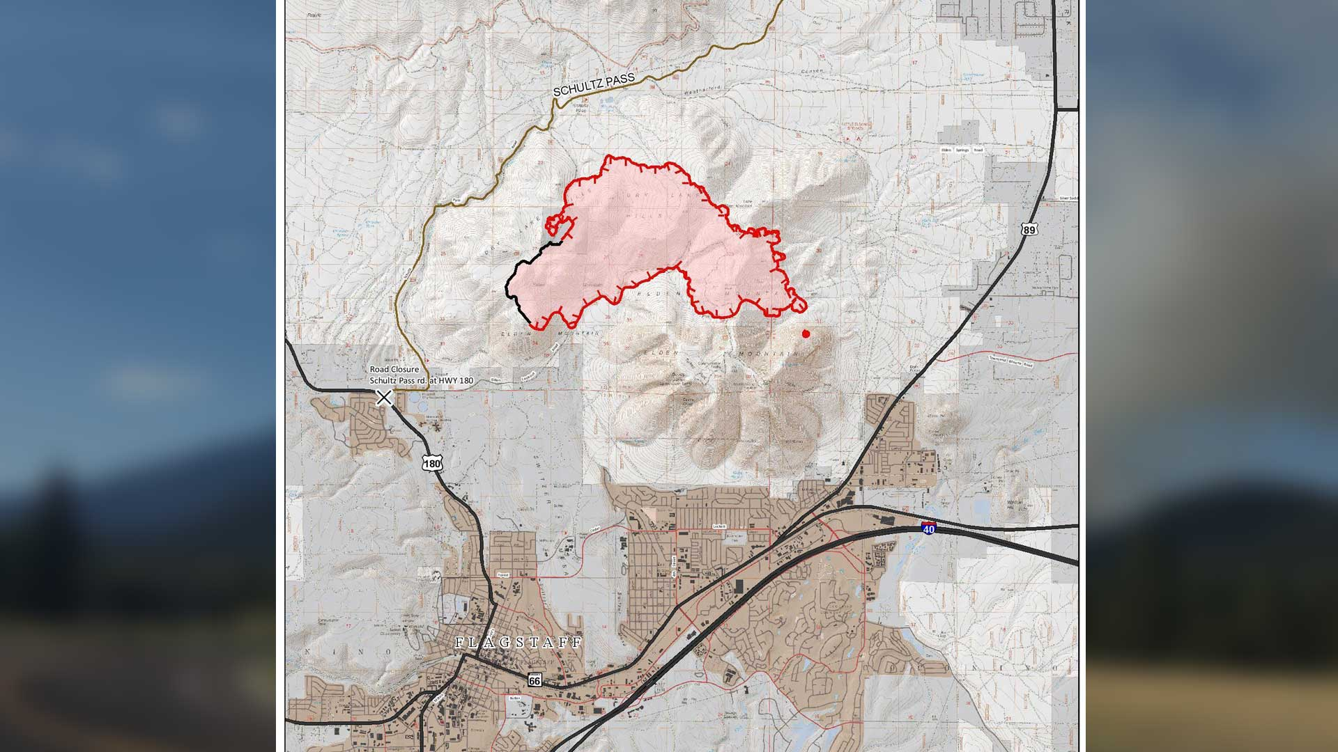 Partial map of the extent of the Museum Fire, near Flagstaff, published Friday, July 26.