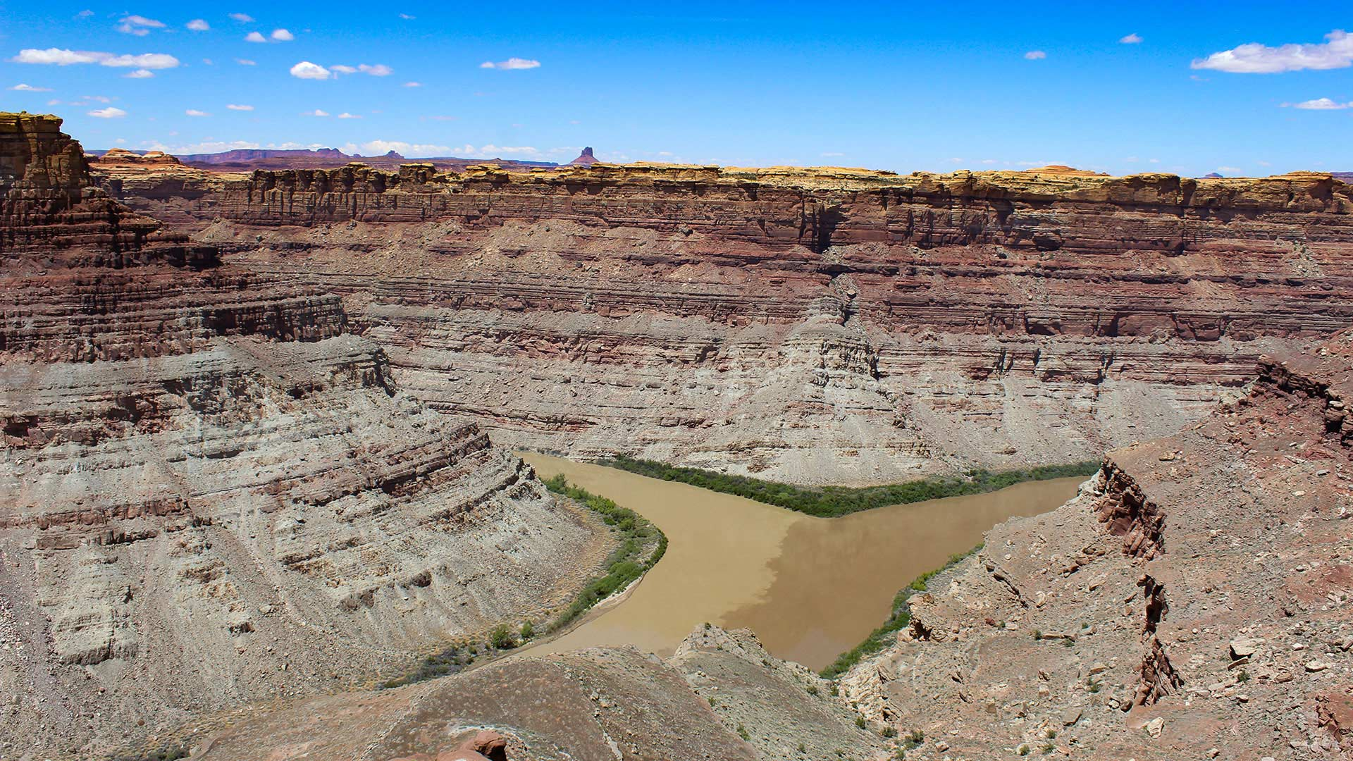 The Green and Colorado Rivers meet at Canyonlands National Park in Utah.