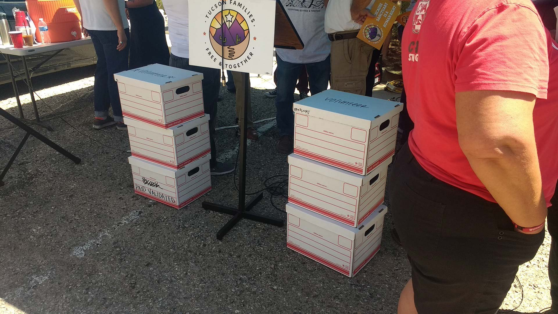 Boxes containing petitions collected by the People's Defense Initiative were displayed on July 3, 2019, before the group submitted them to Tucson city officials. The group claims it collected 18,155 signatures, more than the 9,200 needed to qualify its proposed Sanctuary City ordinance for the Nov. 5, 2019 Tucson city election ballot.