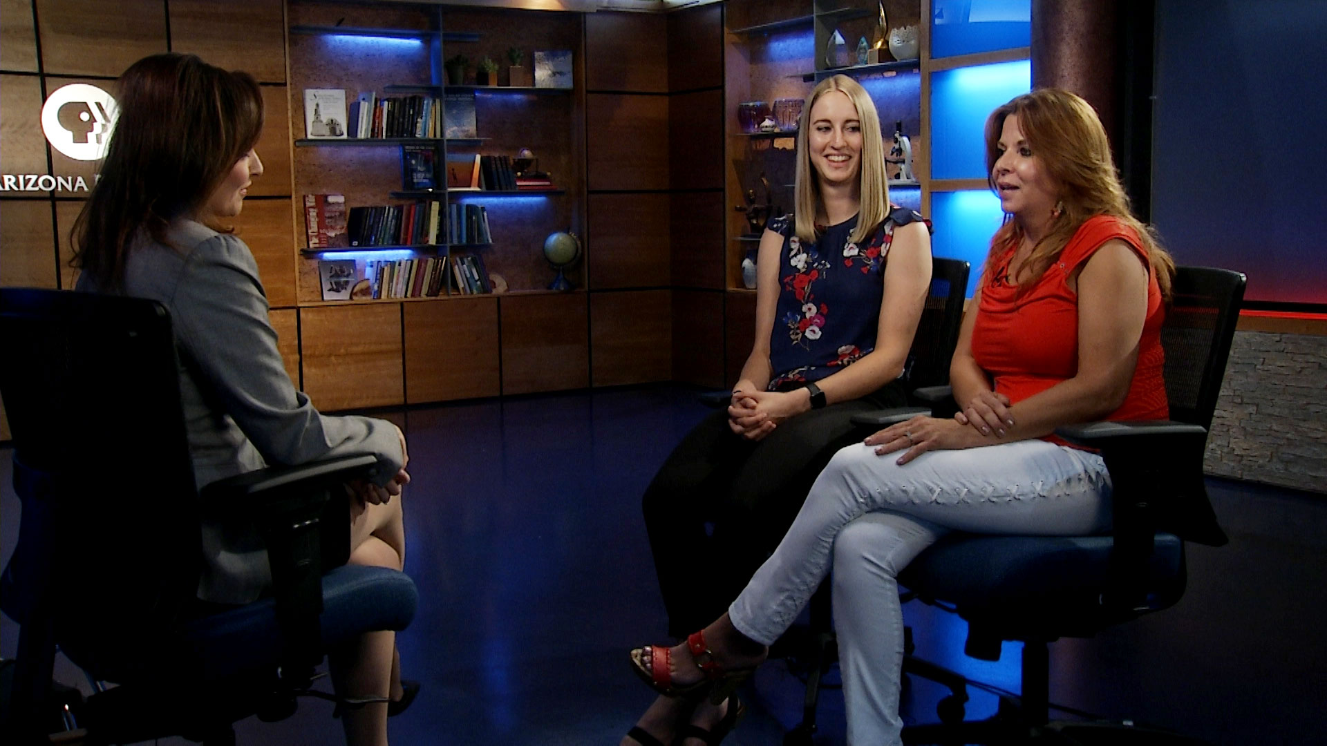 Caitlin Brenton (left) and Chauna Mae sit for an interview with Arizona 360 host Lorraine Rivera at Arizona Public Media to discuss their experiences with the Arizona Teachers Academy on July 23, 2019.