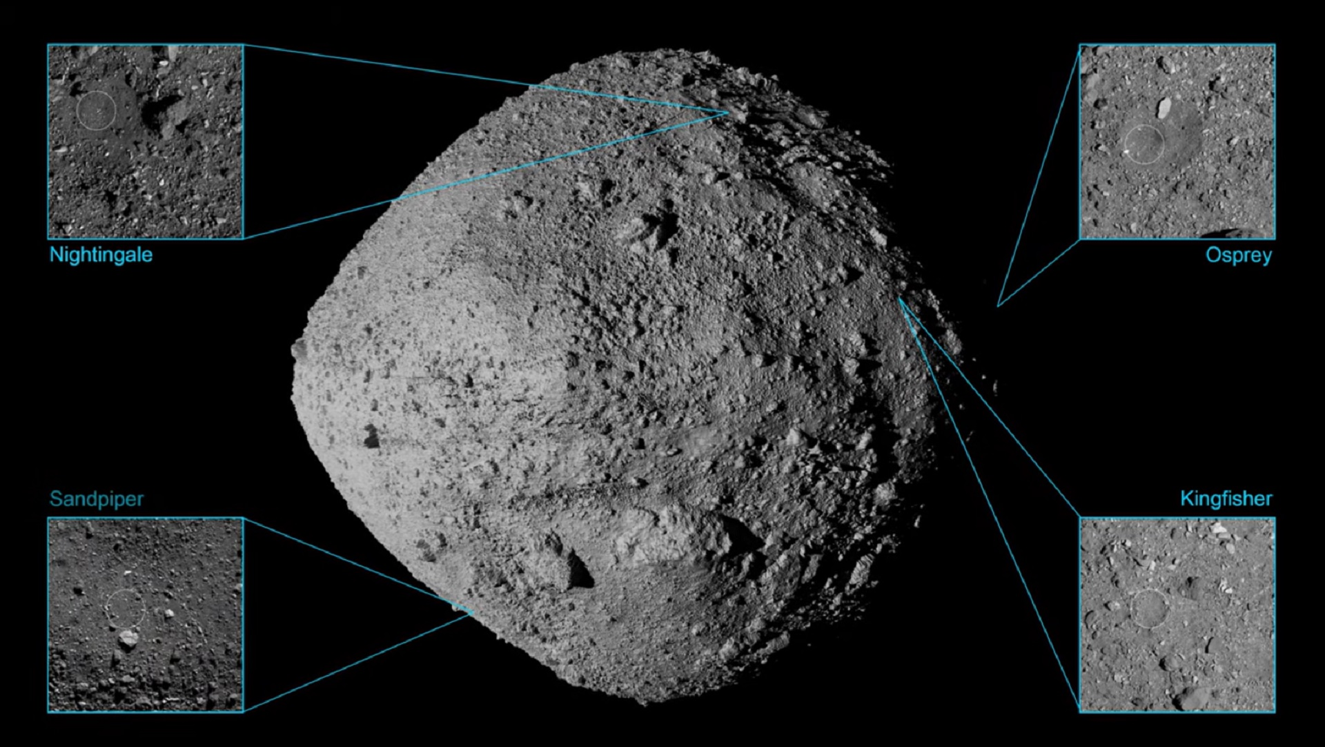 This screen grab from a NASA video released Aug. 12, 2019 shows four potential locations on Bennu for the OSIRIS-REx probe to collect soil samples.