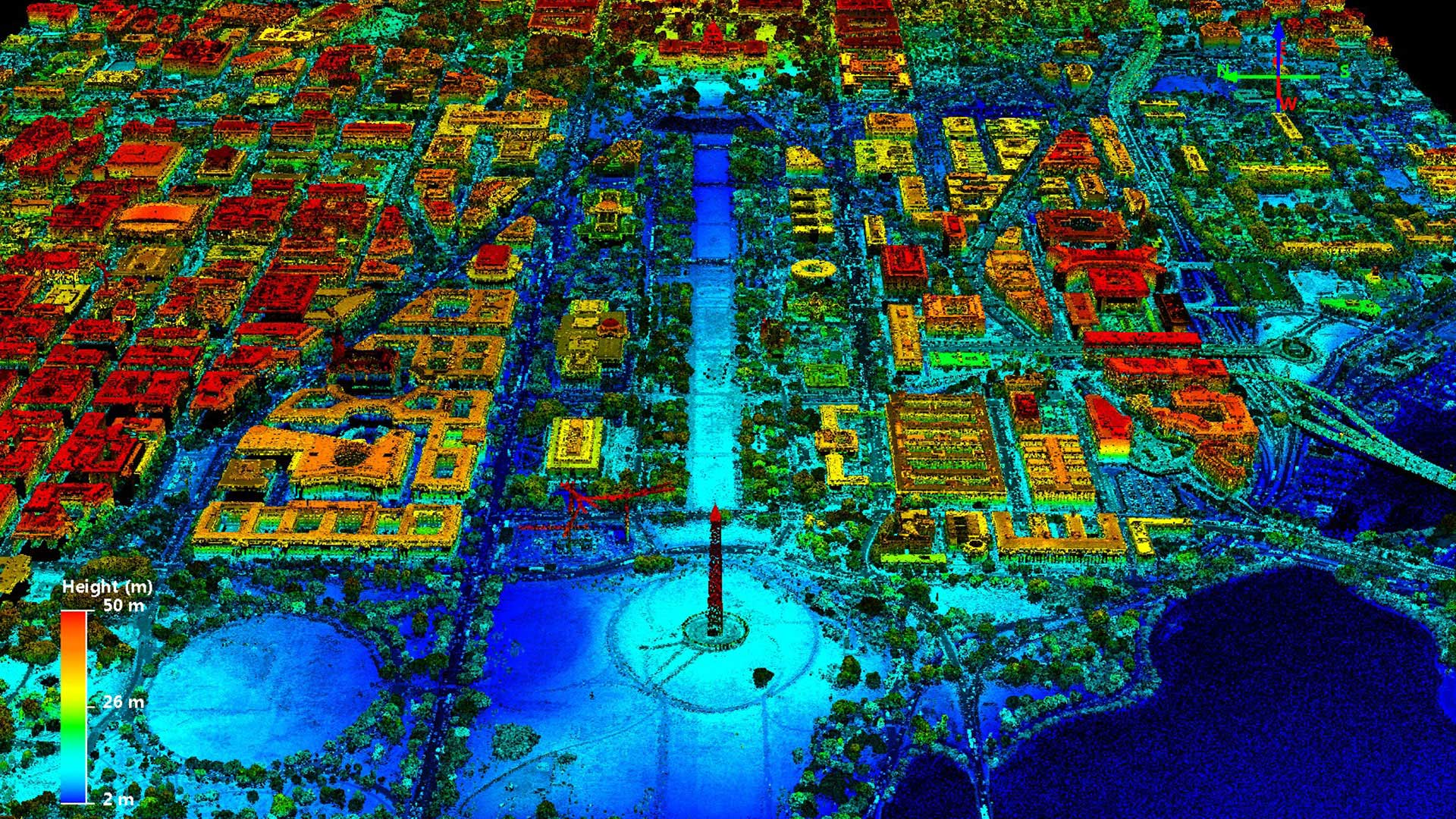 "A 2017 lidar ""point cloud"" image of the Washington Mall in Washington, D.C. Advances in remote sensing technologies are changing the types and quantity of data available to researchers."