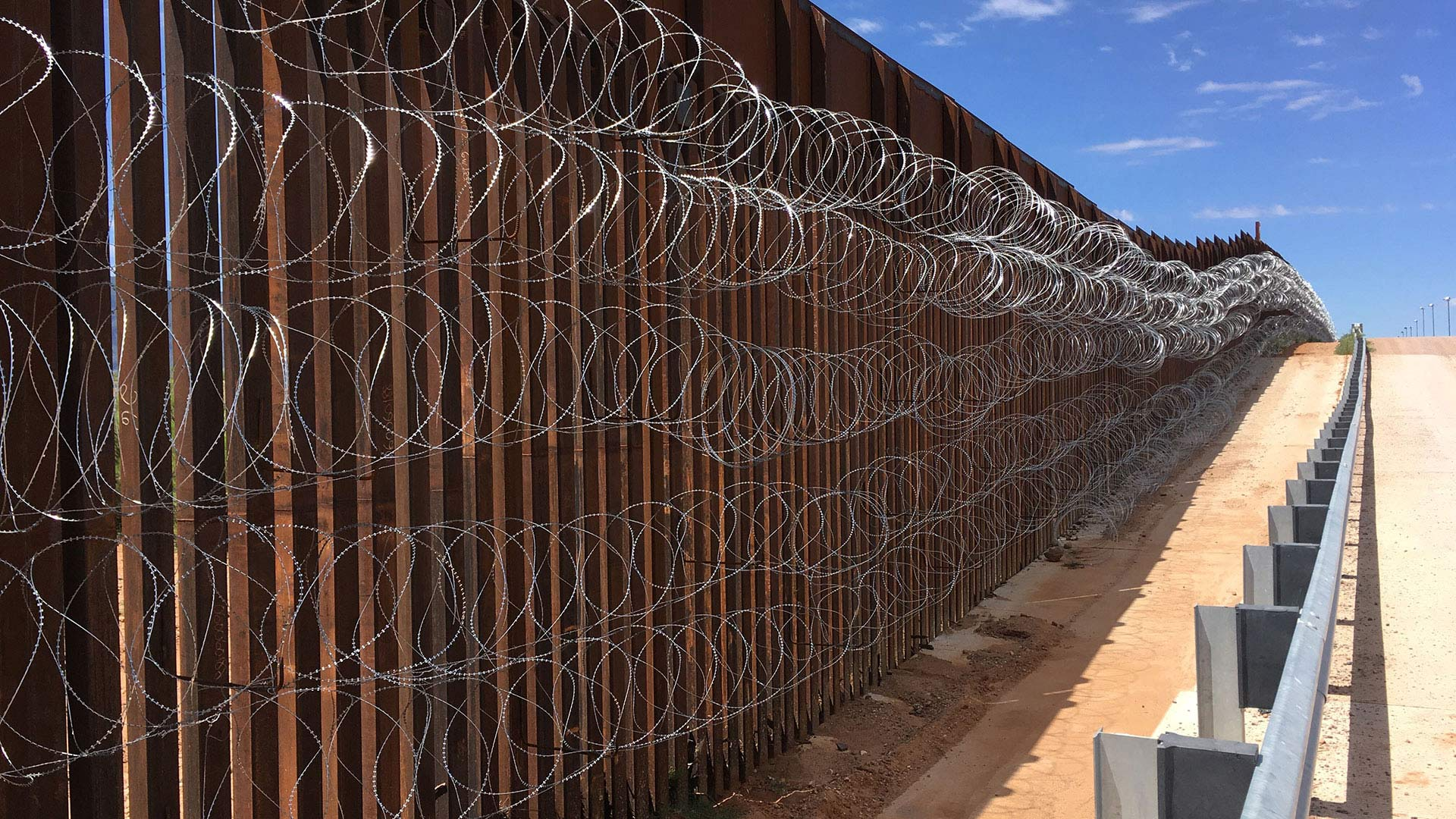 Existing bollard-style fencing along the U.S.-Mexico border.