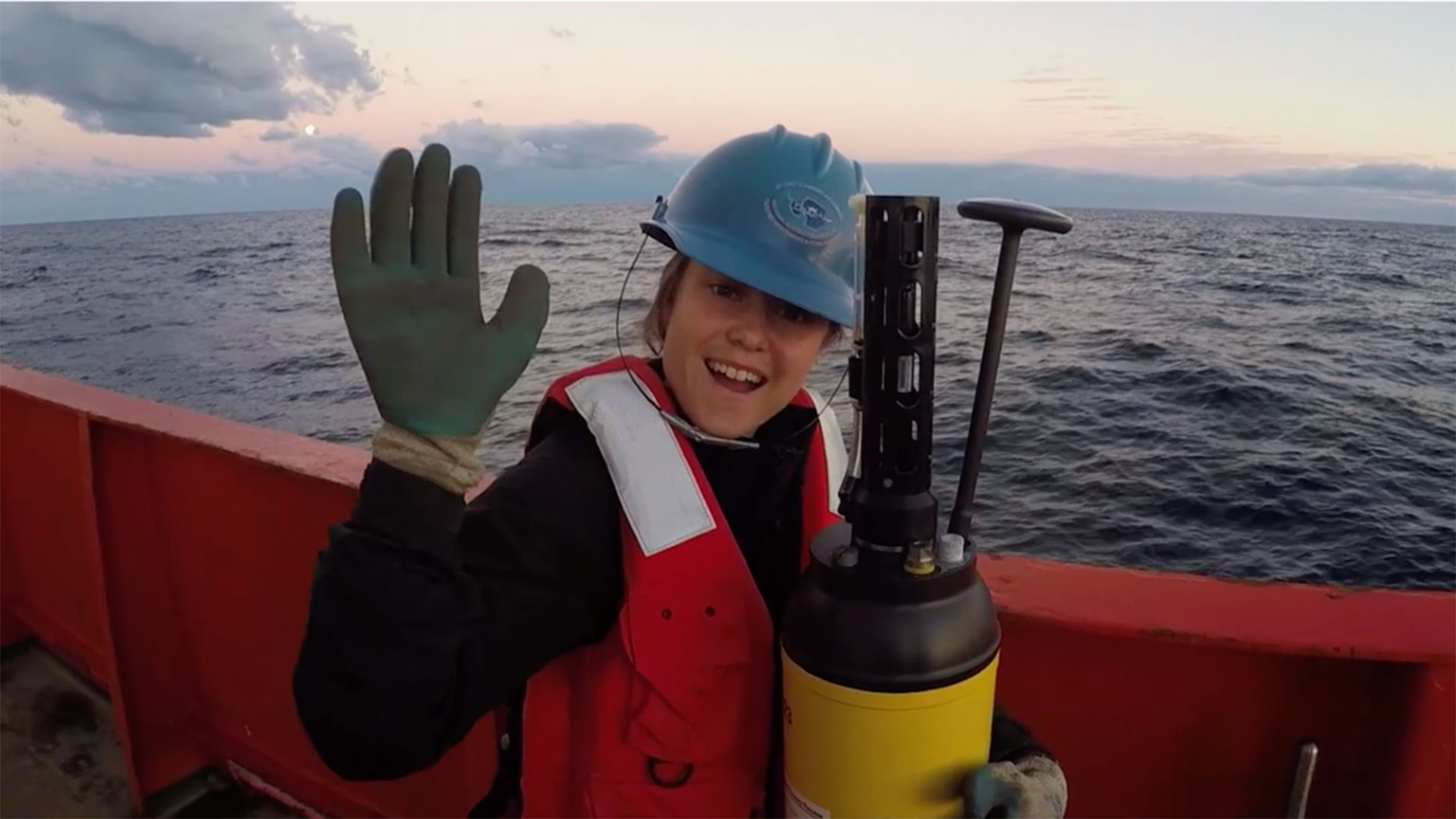 UA graduate student in geosciences Becki Beadling on a research vessel in teh Southern Ocean, deploying robotic floats that gather information for the SOCCOM project.
