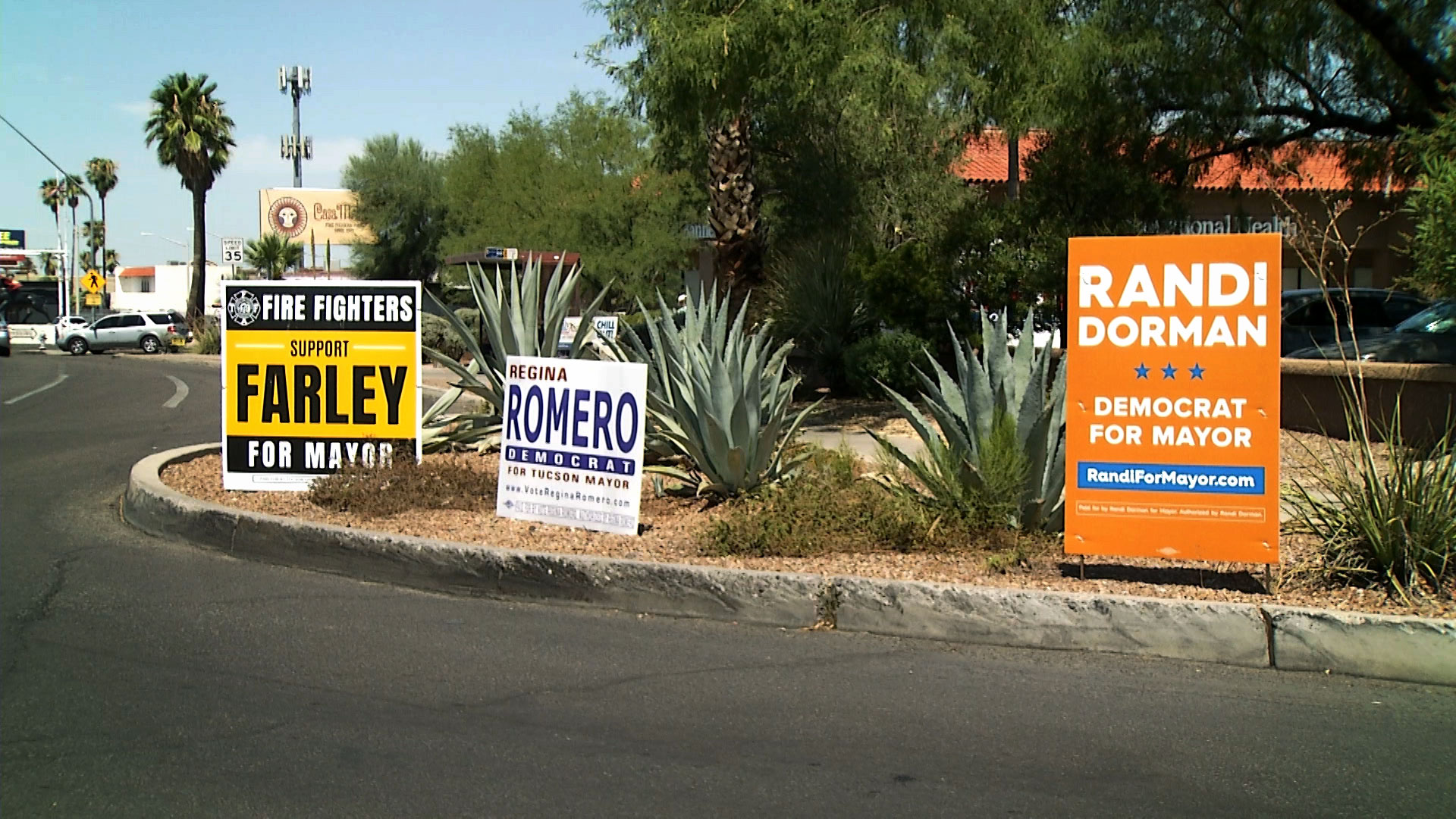 Campaign signs for the Democratic candidates running for Tucson mayor seen at a street corner on East Speedway Boulevard near North Wilmot Road.