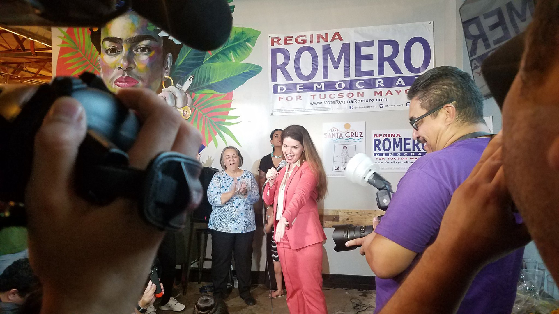 Tucson City Councilwoman Regina Romero claims victory in the race for the Democratic Party nomination for Tucson mayor, Aug. 27, 2019.