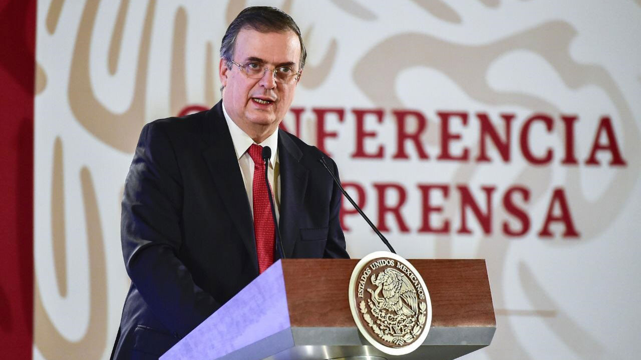Foreign Secretary Marcelo Ebrard speaks at a press conference in this photo published March 28, 2019.