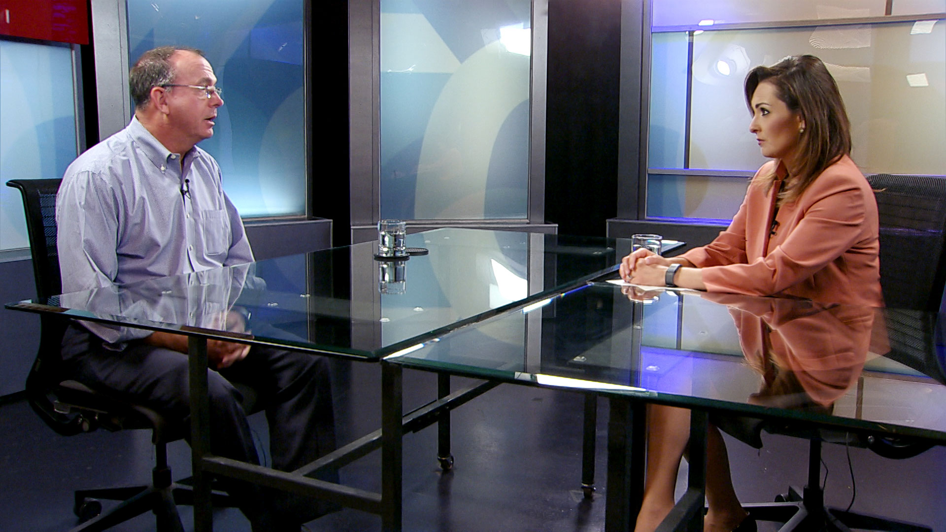 UA professor of Systems and Industrial Engineering Larry Head sits for an interview with Arizona 360 host Lorraine Rivera at Arizona Public Media on July 11, 2019.