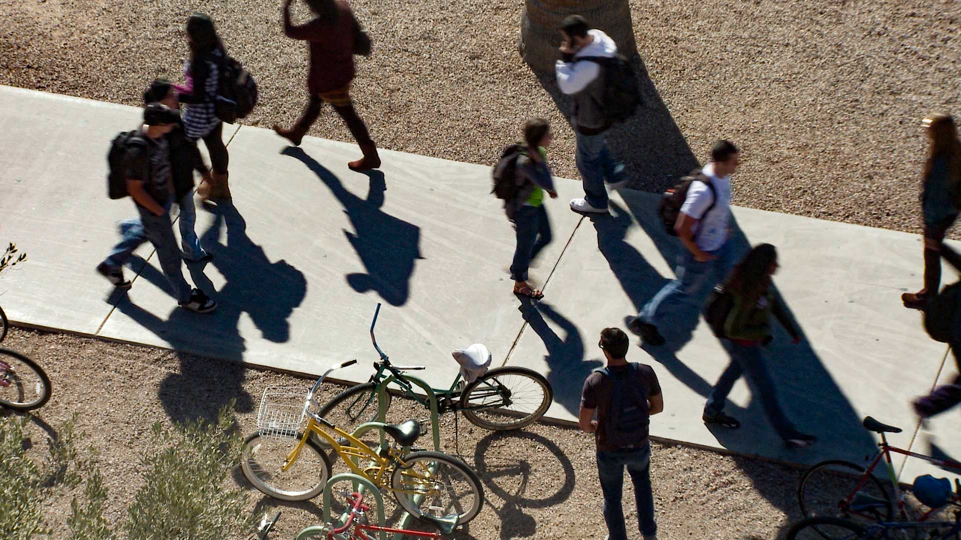 Students at the University of Arizona campus.