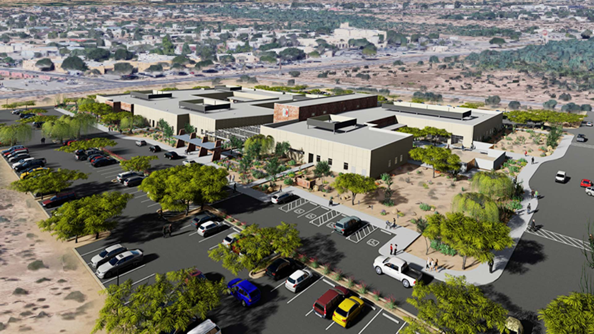 An aerial mock-up of what the Pascua Yaqui Health Services Center II will look like.