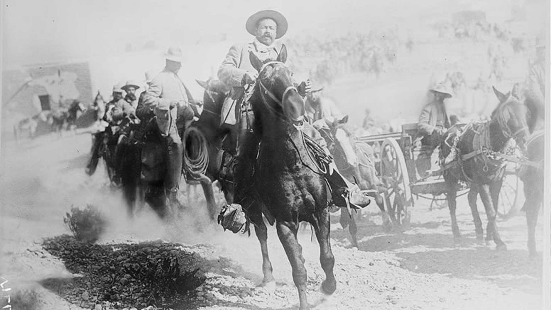 General Francisco 'Pancho' Villa on horseback, during the Mexican Revolution, 1914.