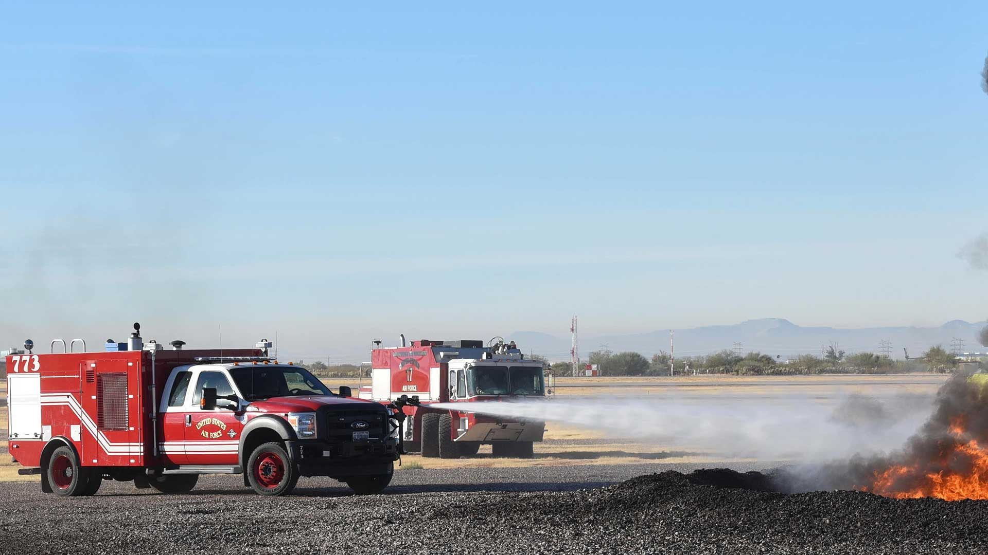 A January 2018 firefighting exercise with the 162nd Wing at Davis-Monthan Air Force Base in Tucson, Arizona.