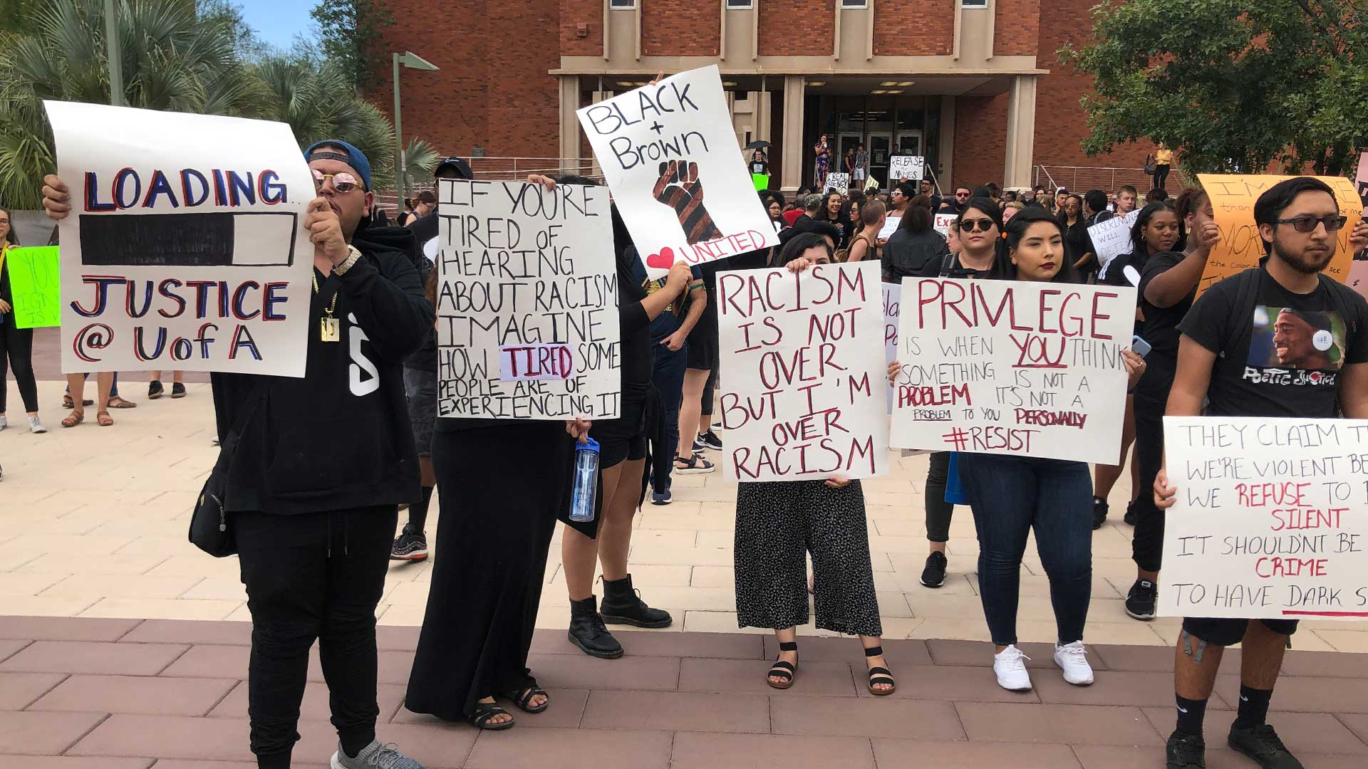 Students protest assault