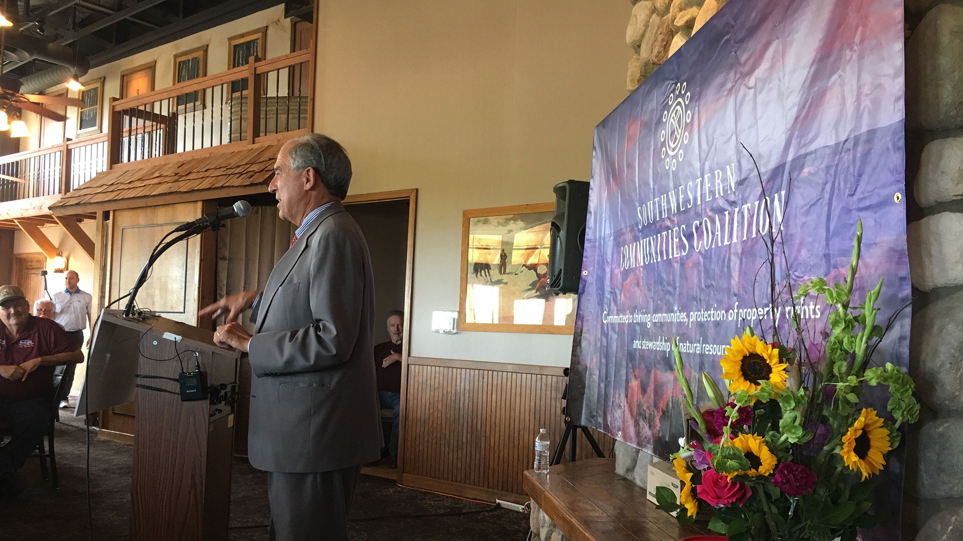 Lanny Davis, the attorney representing El Dorado Holdings, speaks at the launch of the Southwestern Communities Coalition Sept. 18, 2019.