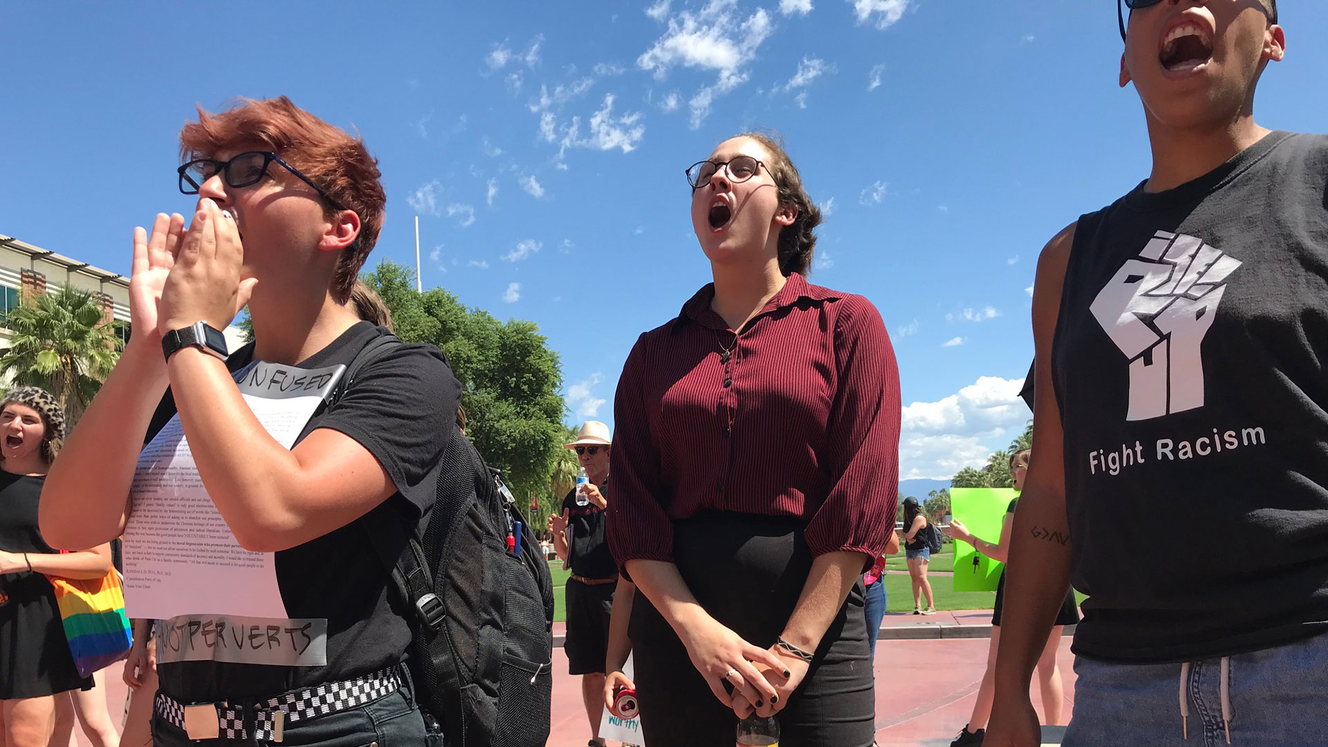 Demonstrators call for the firing of a professor at the University of Arizona over a homophobic letter, Sept. 18, 2019.