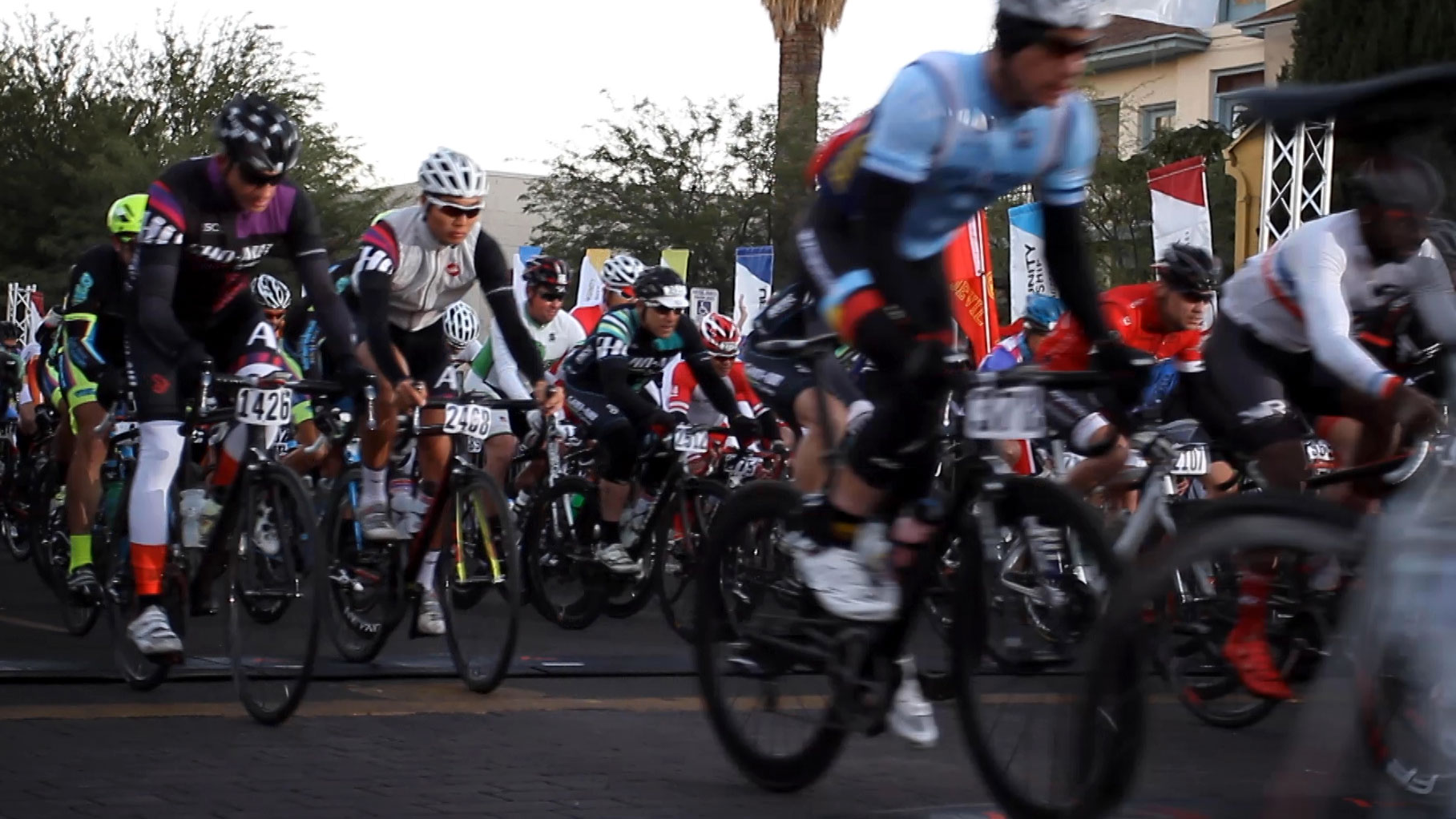 Cyclists depart from the starting line at the 2014 El Tour de Tucson.