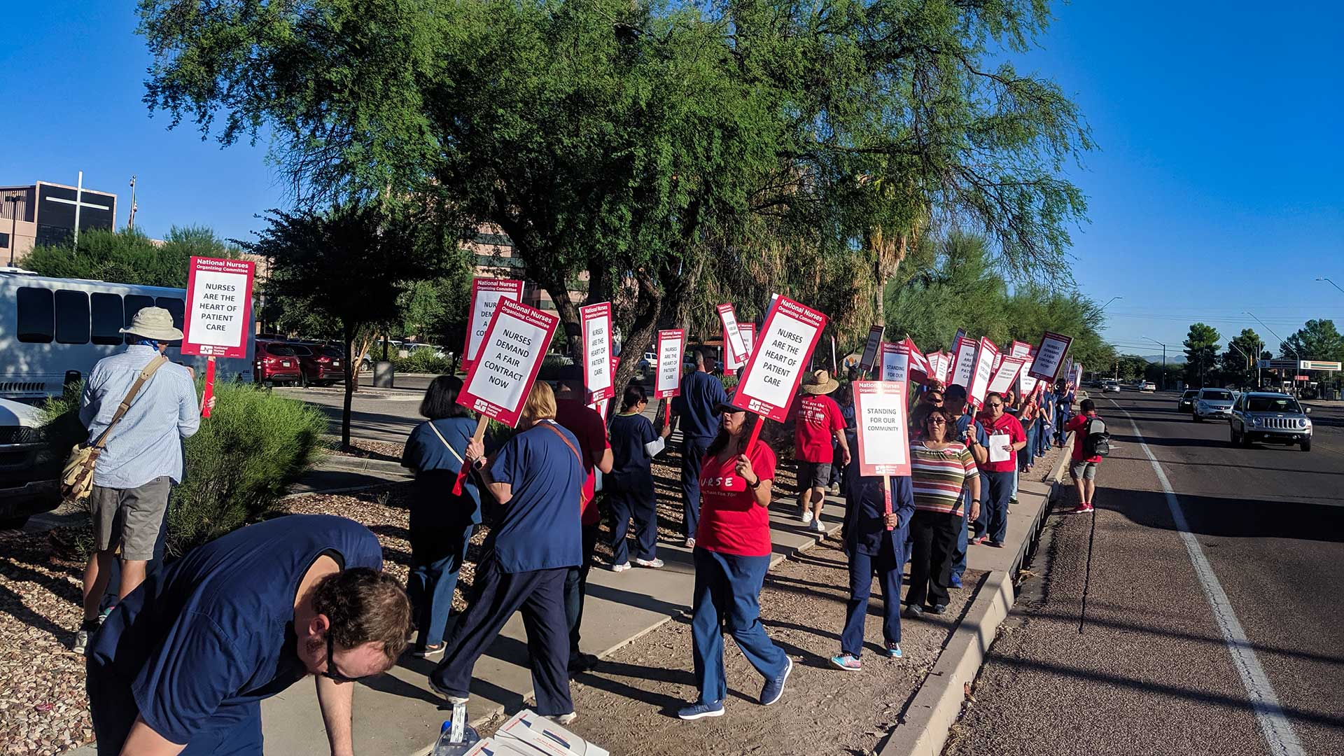 Nurses hold a demonstration in front of Carondelet St. Mary's Hospital on Silverbell Road, Sept. 20, 2019.