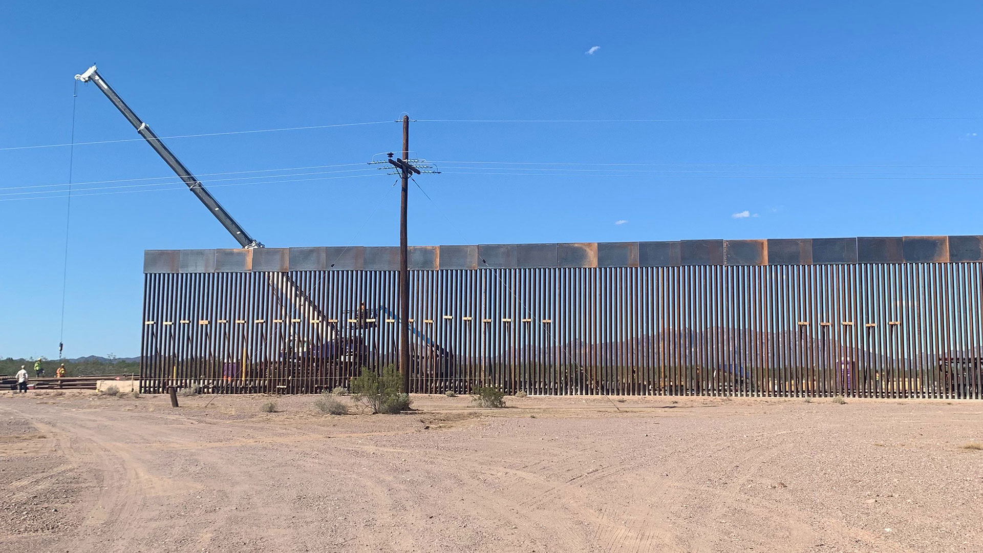 Construction on new border wall fencing at Organ Pipe Cactus National Monument in September, 2019.