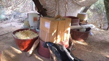 Mexican military personnel shut down a clandestine drug lab in Sonoyta, Sonora, just south of the Arizona border, on Sept. 17, 2019.
