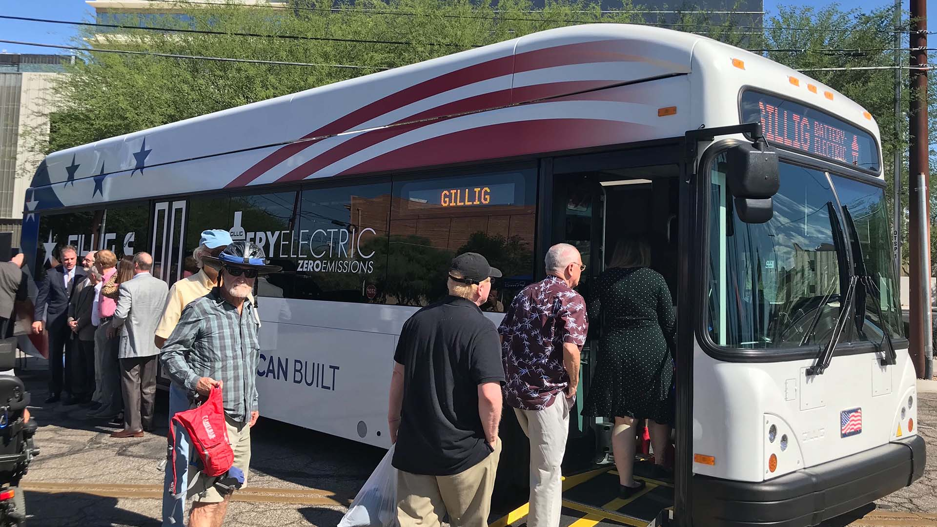 An electric bus being showcased in front of the Tucson Electric Power headquarters on Sept. 18, 2019. The city of Tucson plans to lease a bus from the California-based Gillig for a pilot program beginning next spring.