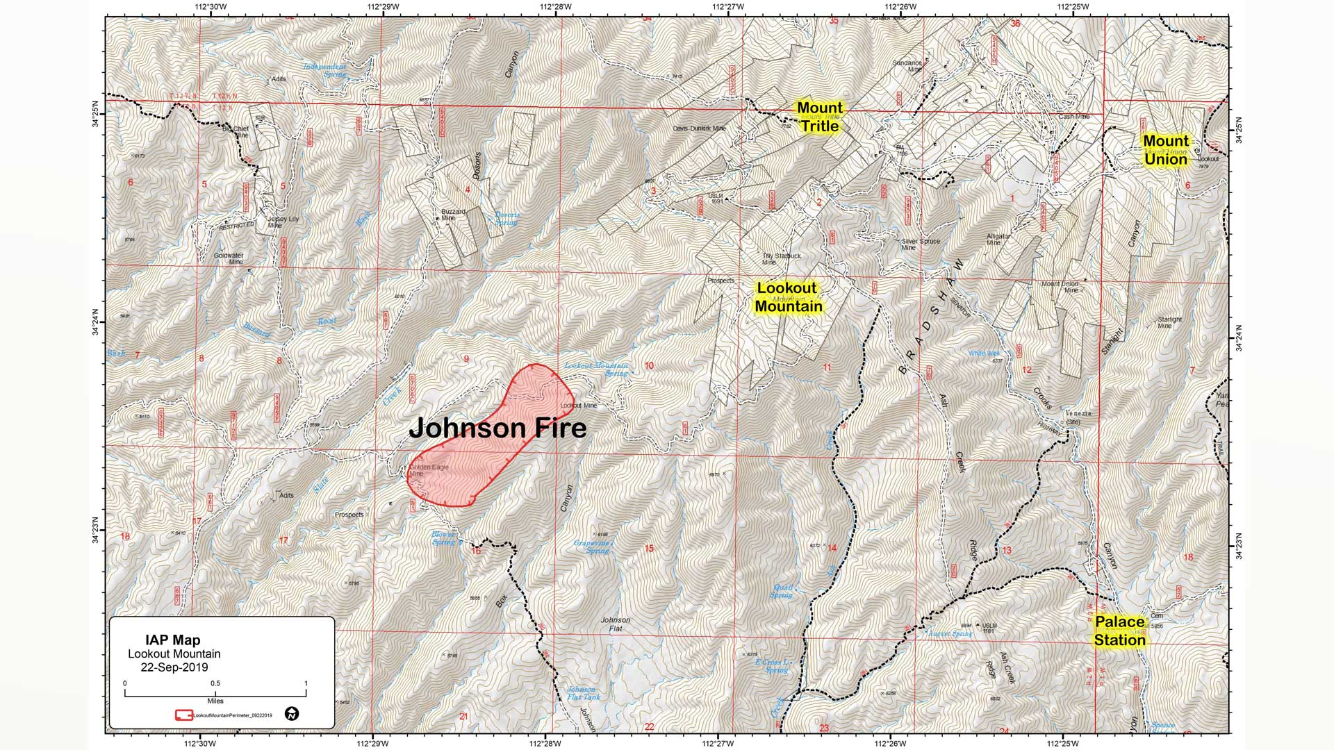 A map showing the approximate location and perimeter of the Johnson Fire near Prescott, dated Sept. 22, 2019.