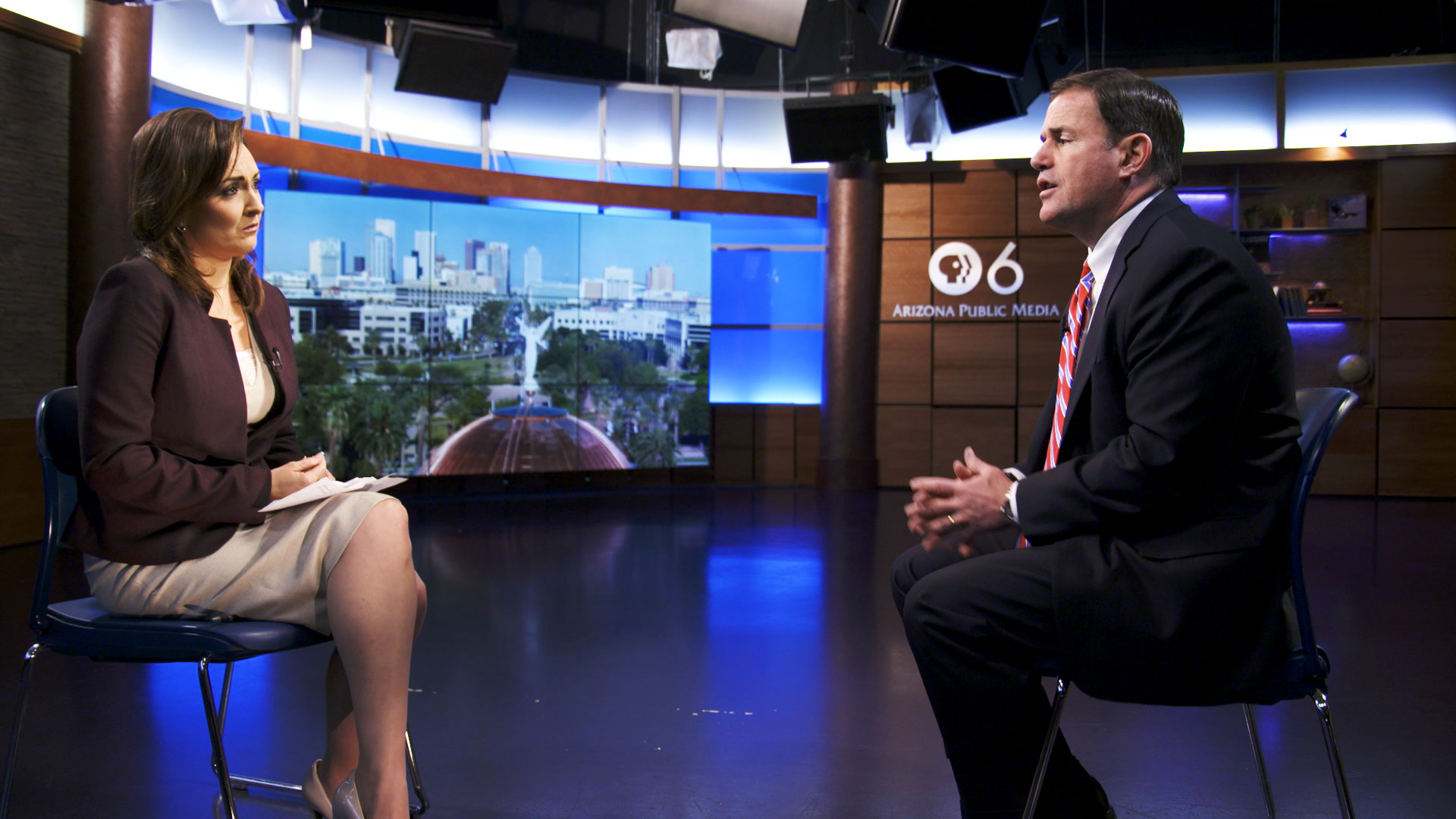 Gov. Doug Ducey sits for an interview with Arizona 360 host Lorraine Rivera at Arizona Public Media on September 24, 2019.